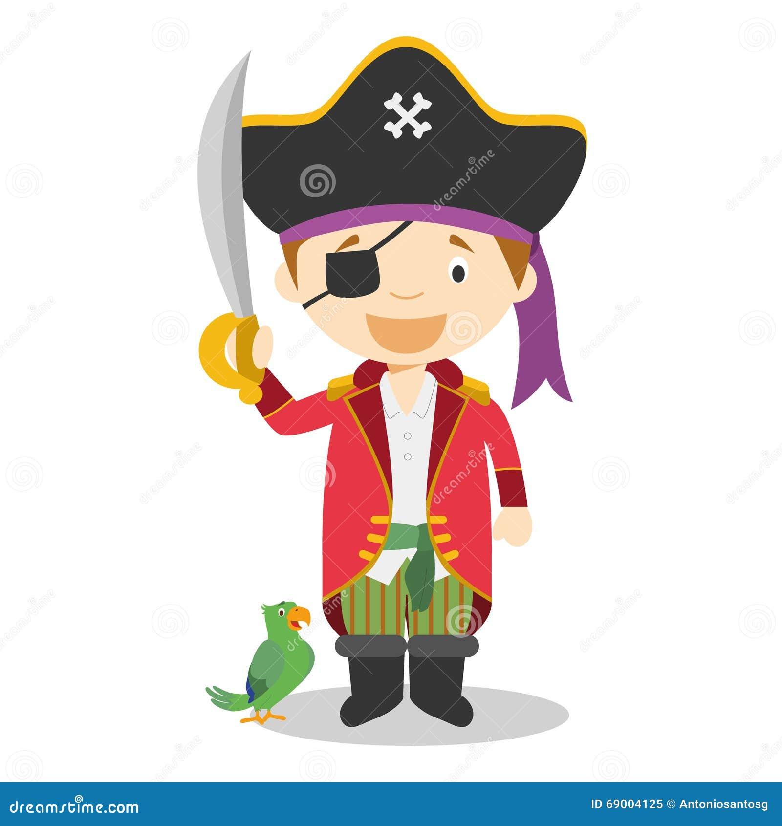 kids girl pirate cartoon vector illustration