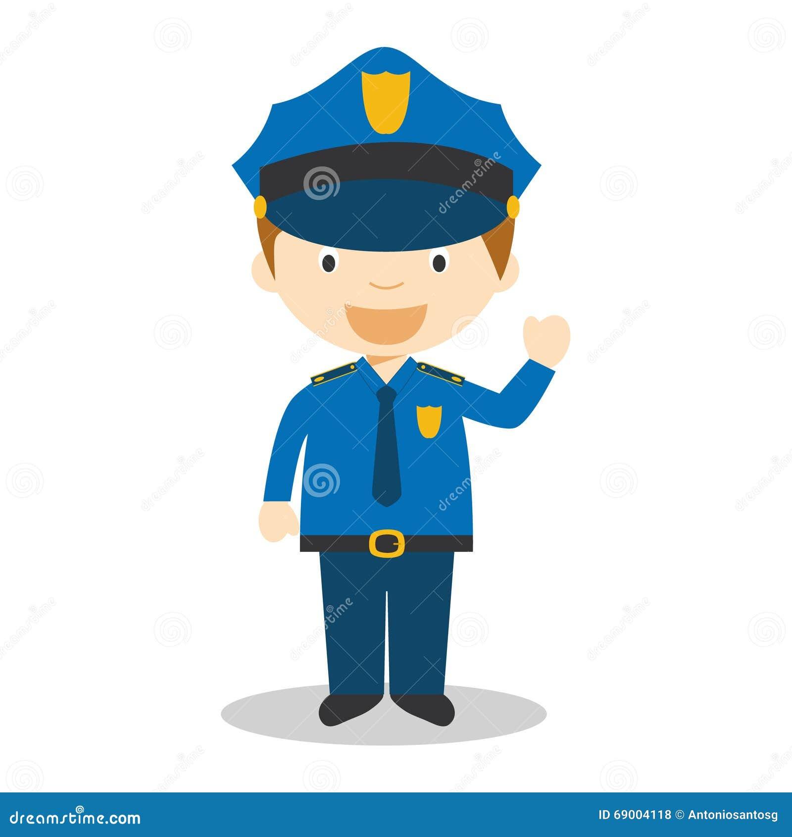 Cute Cartoon Vector Illustration Of A Policeman Stock