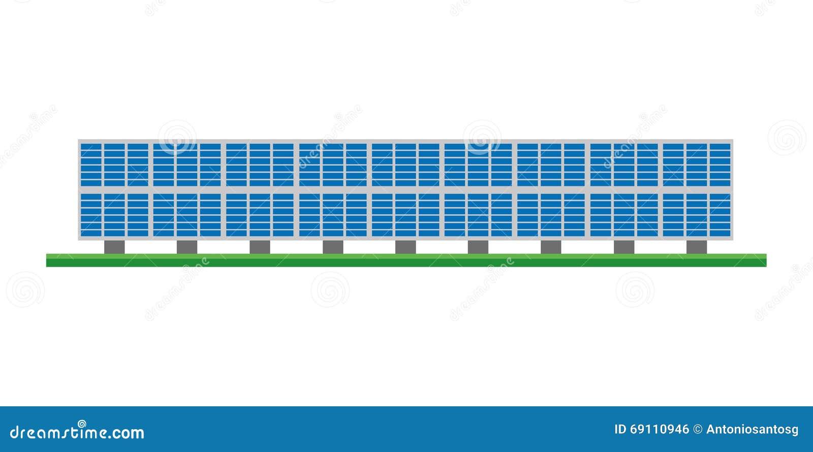 Cute Cartoon Vector Illustration Of A Solar Photovoltaic Power Plant ...