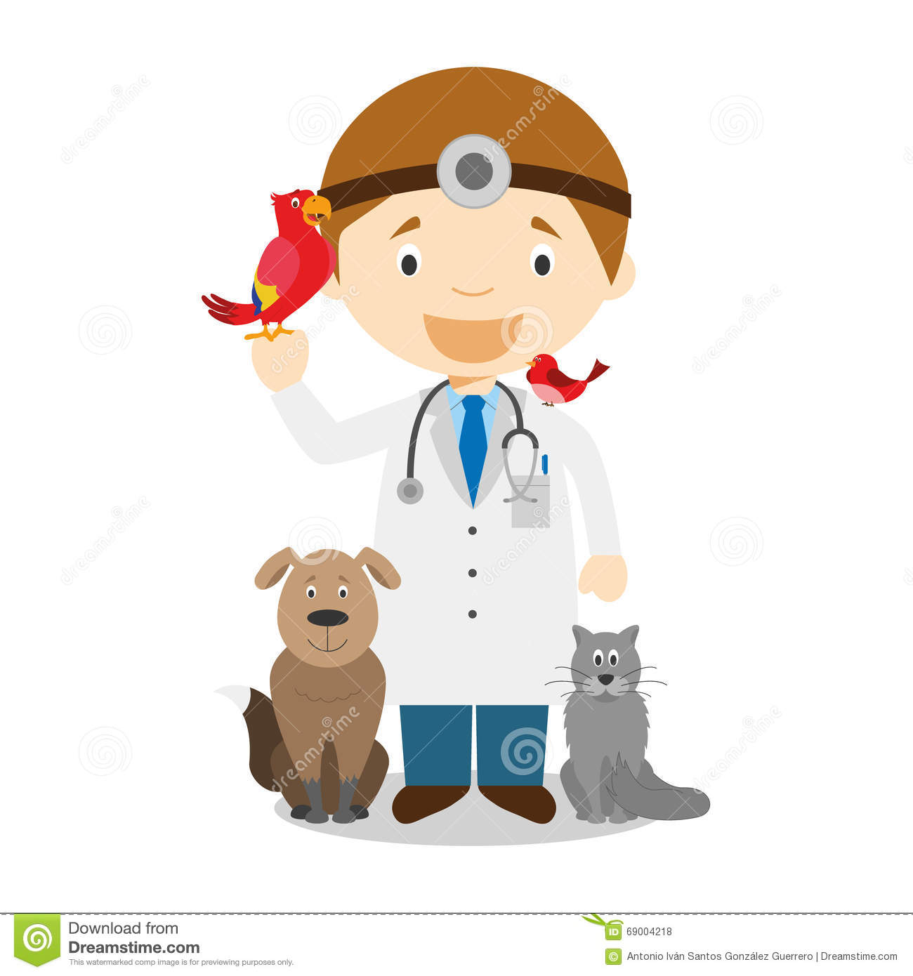 veterinar kid Cute cartoon vector illustration of a veterinarian Royalty Free Stock Photos
