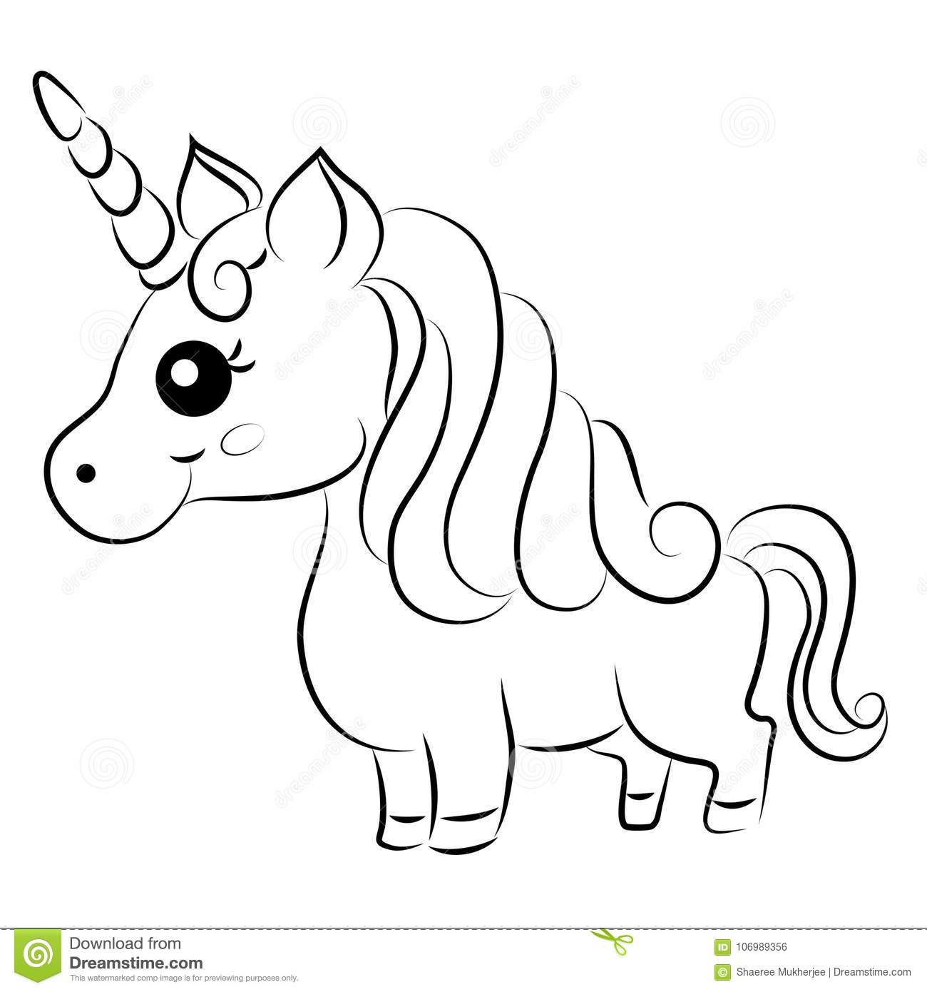 Cute Cartoon Vector Unicorn Coloring Page Stock Vector