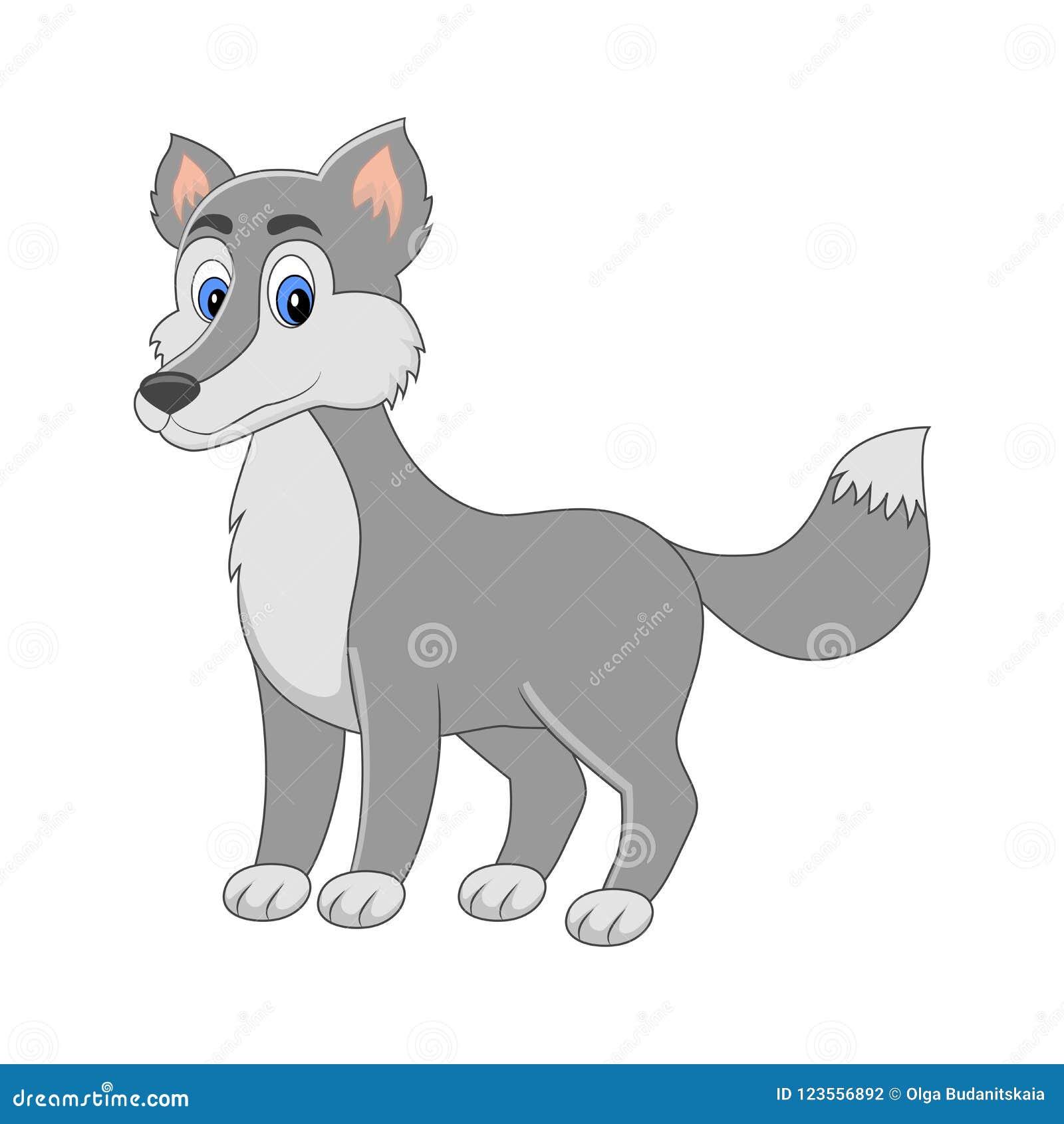 cute cartoon vector wolf arctic animal isolated on white back