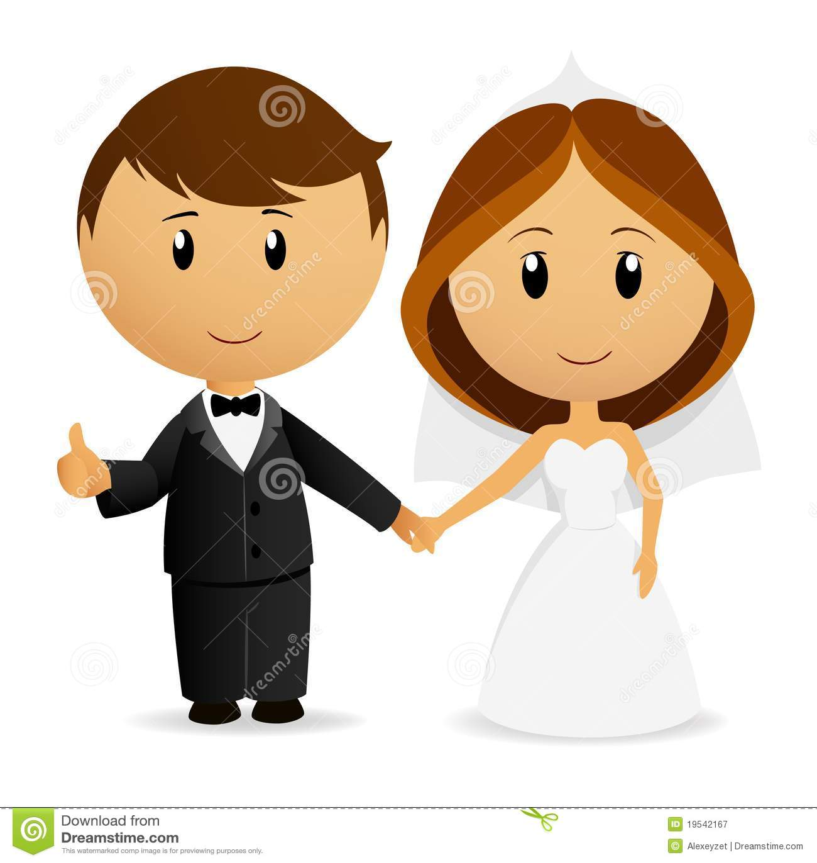 Cute Cartoon Wedding Couple Royalty Free Stock Photography