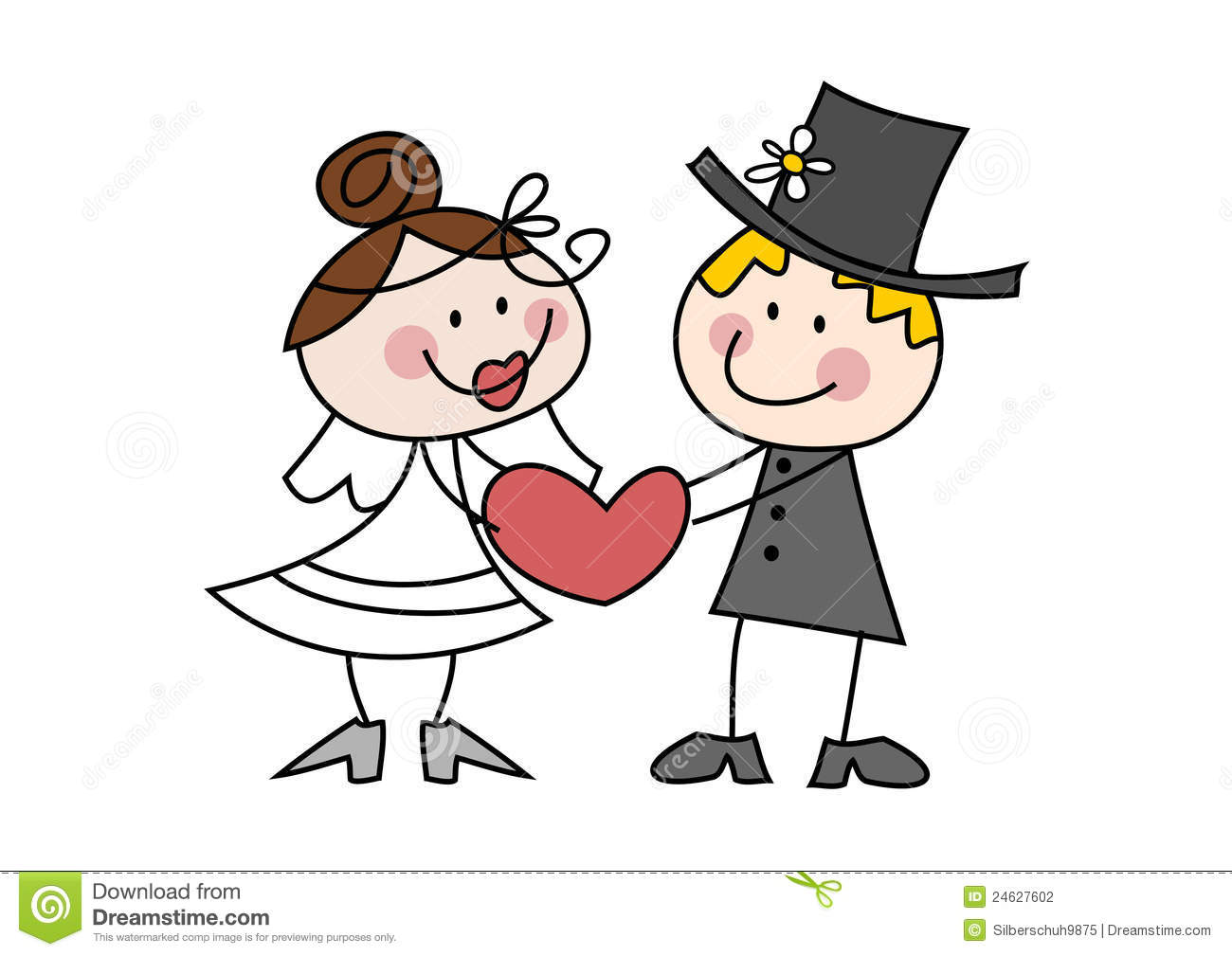 Young Couple Cartoon Cute cartoon wedding couple