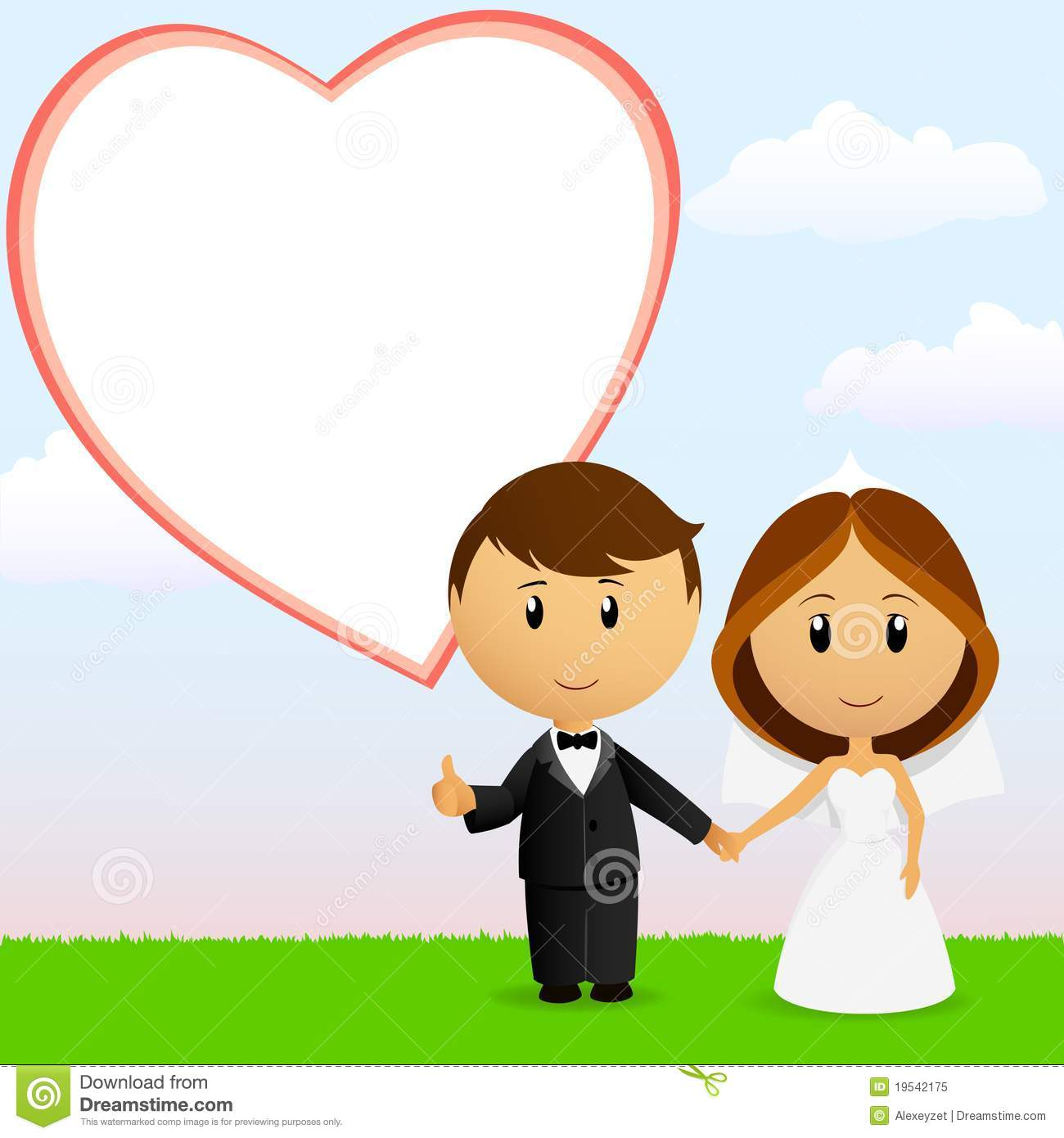 Vector illustration cute cartoon wedding couple holding hand with