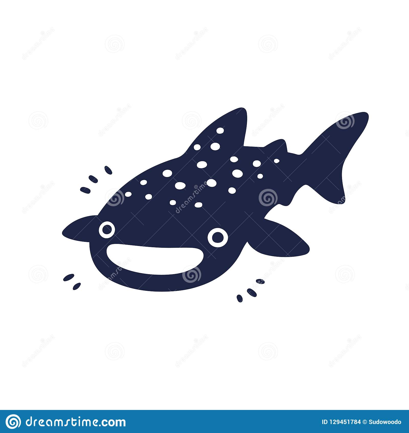 Cute Cartoon Whale Shark Stock Vector Illustration Of Spotted