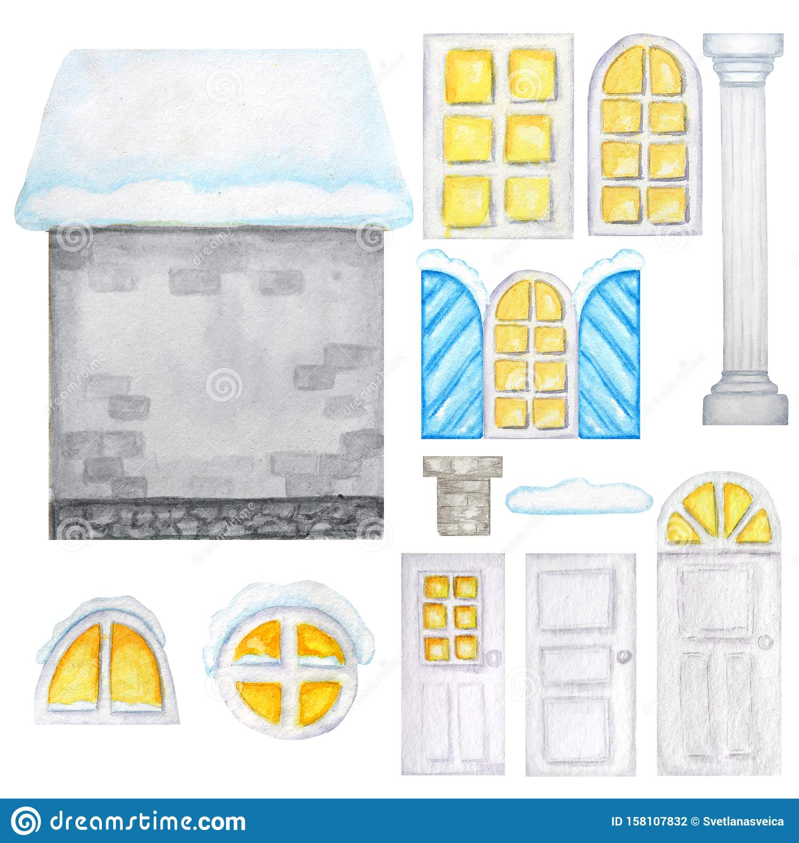 Cute cartoon winter gray house, windows, doors constructor on white background. Elements set Perfect for creating your
