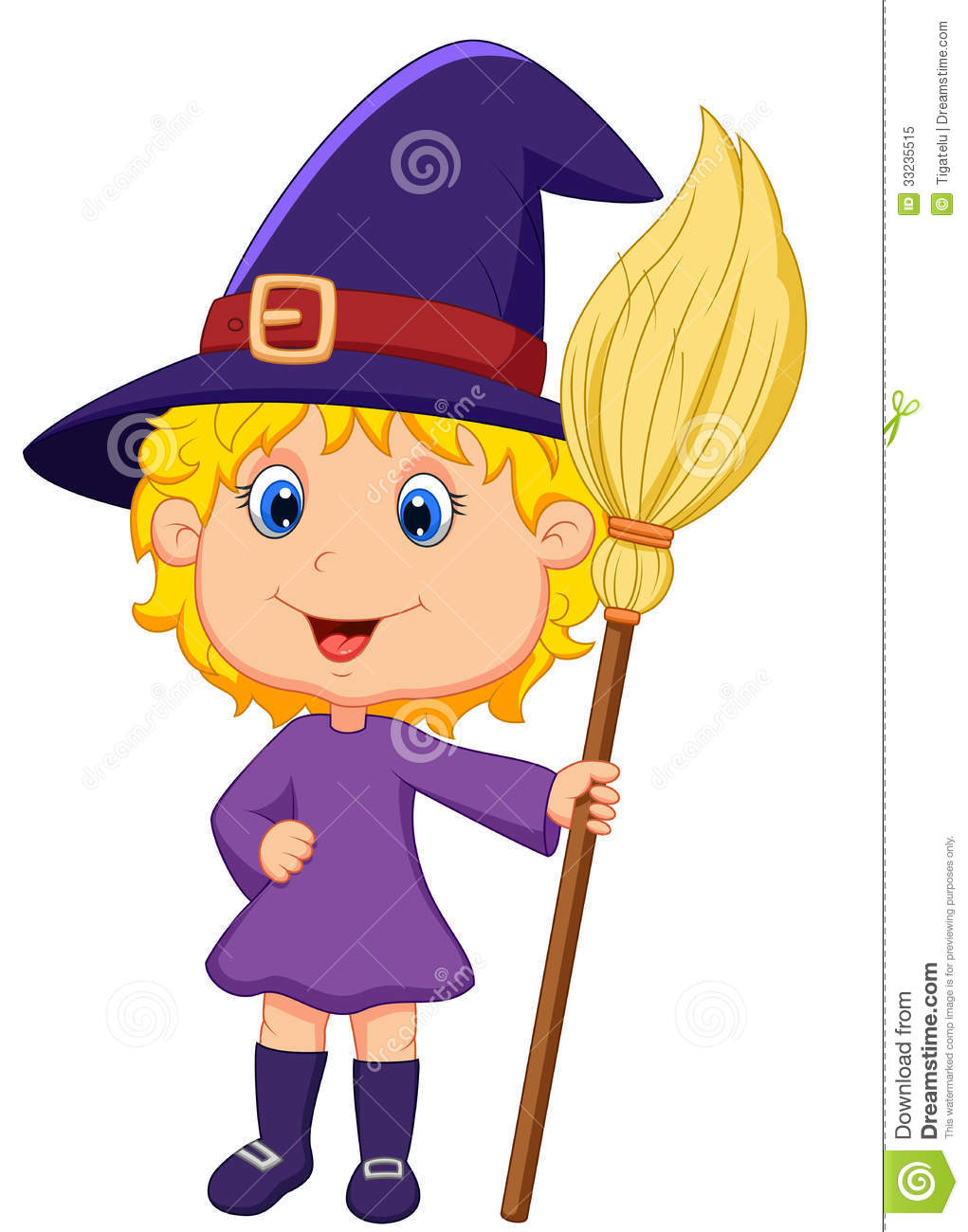 Royalty Free Stock Photo  Cute cartoon witchCute Cartoon Witch