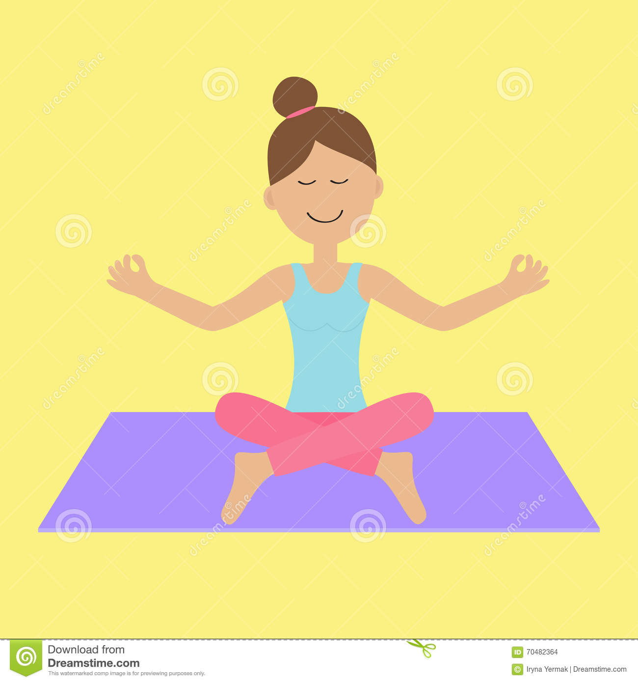 Cute Cartoon Woman Character Sitting In Lotus Pose. Young ...