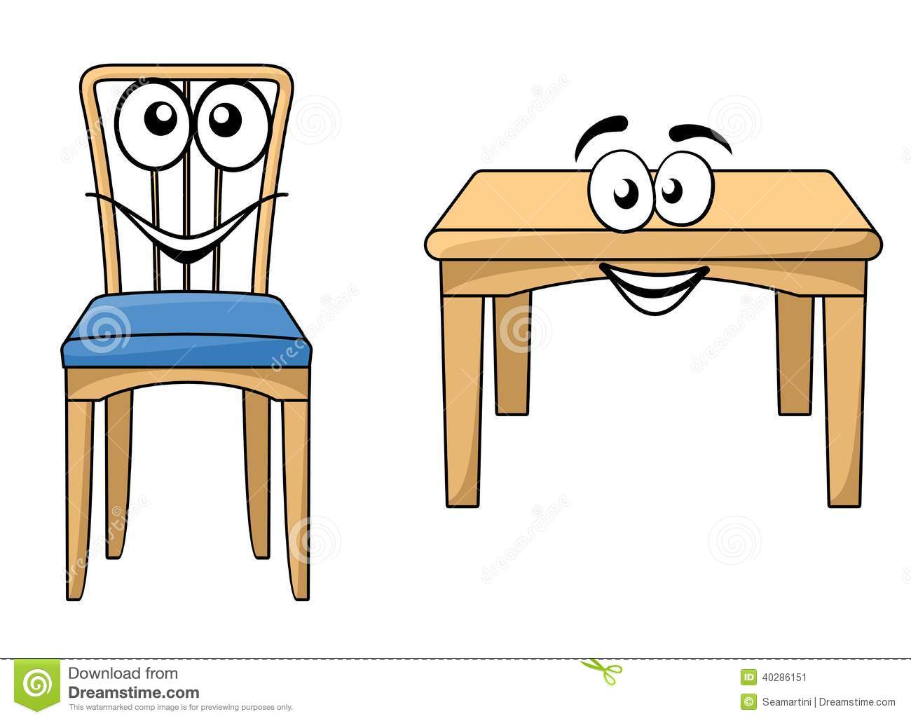 Cute Cartoon Wooden Furniture Stock Vector Image 40286151