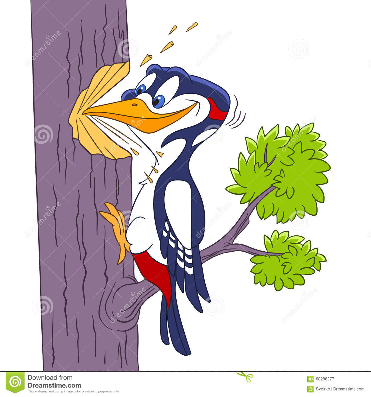 Cute and hardworking cartoon forest bird woodpecker, isolated on a ...