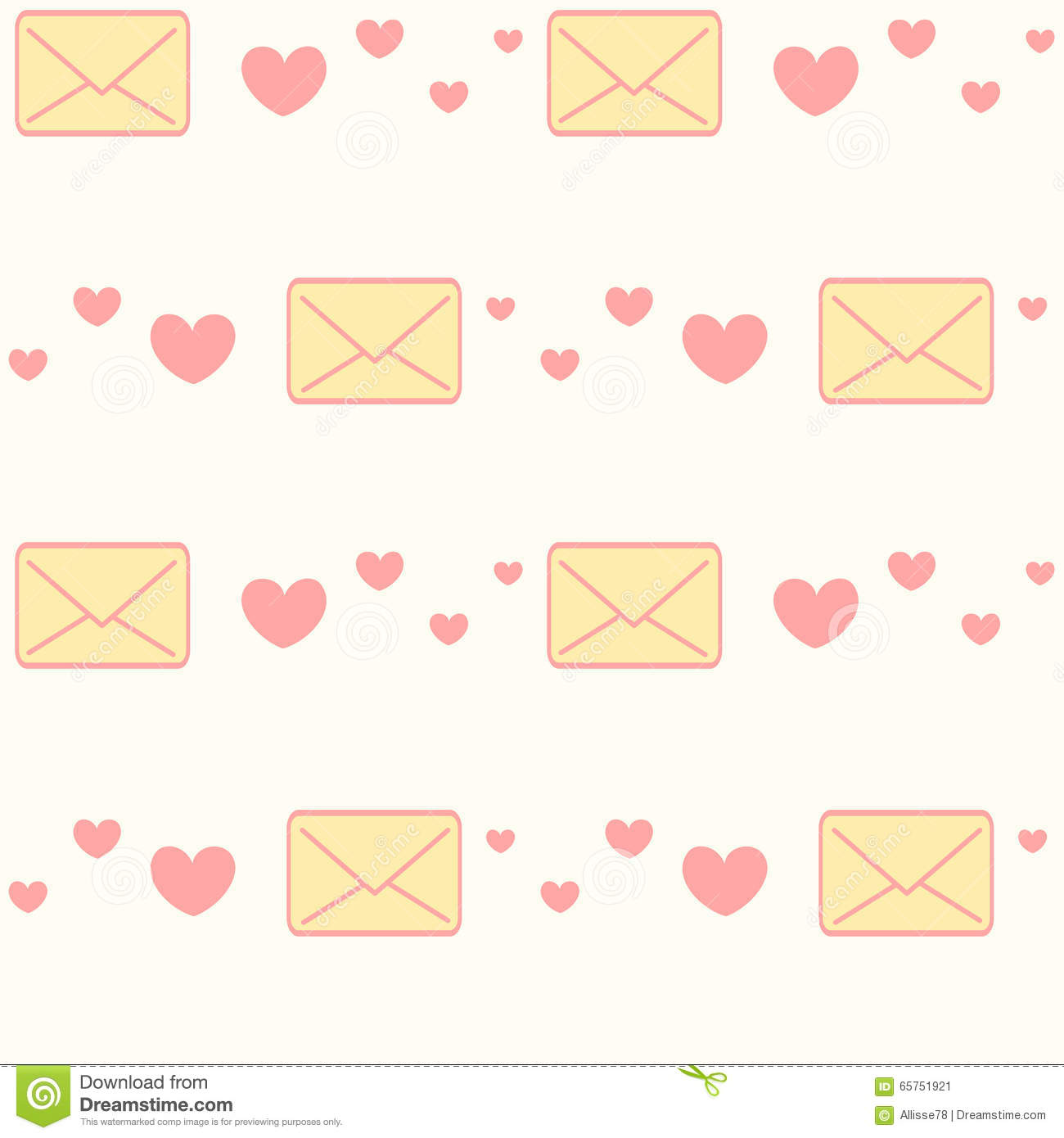 Love Letter And Hearts Seamless Pattern Background cartoon Vector cartoonDealer.com #30330601
