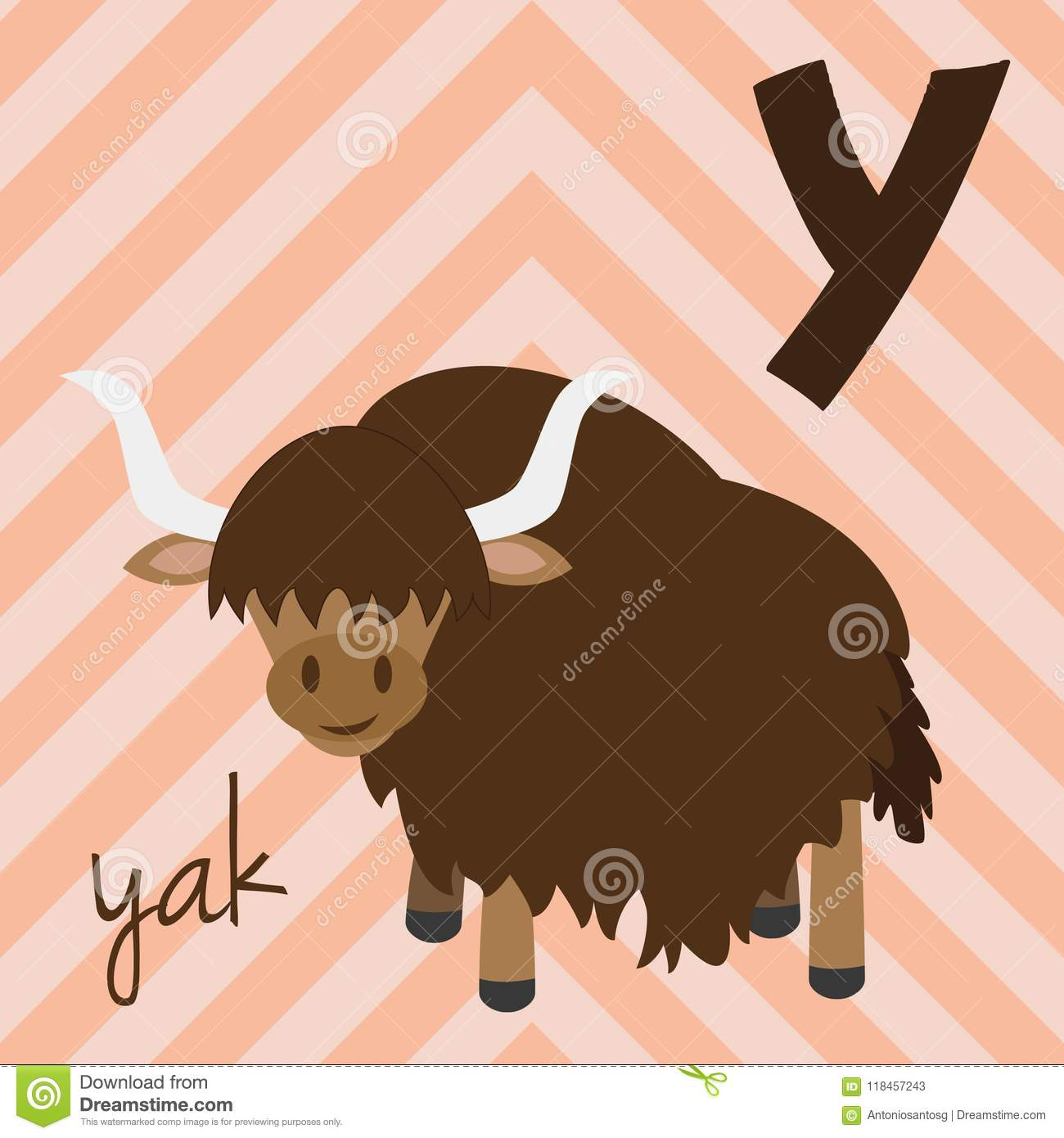 Cute cartoon zoo illustrated alphabet with funny animals. Spanish alphabet: Y for Yak.
