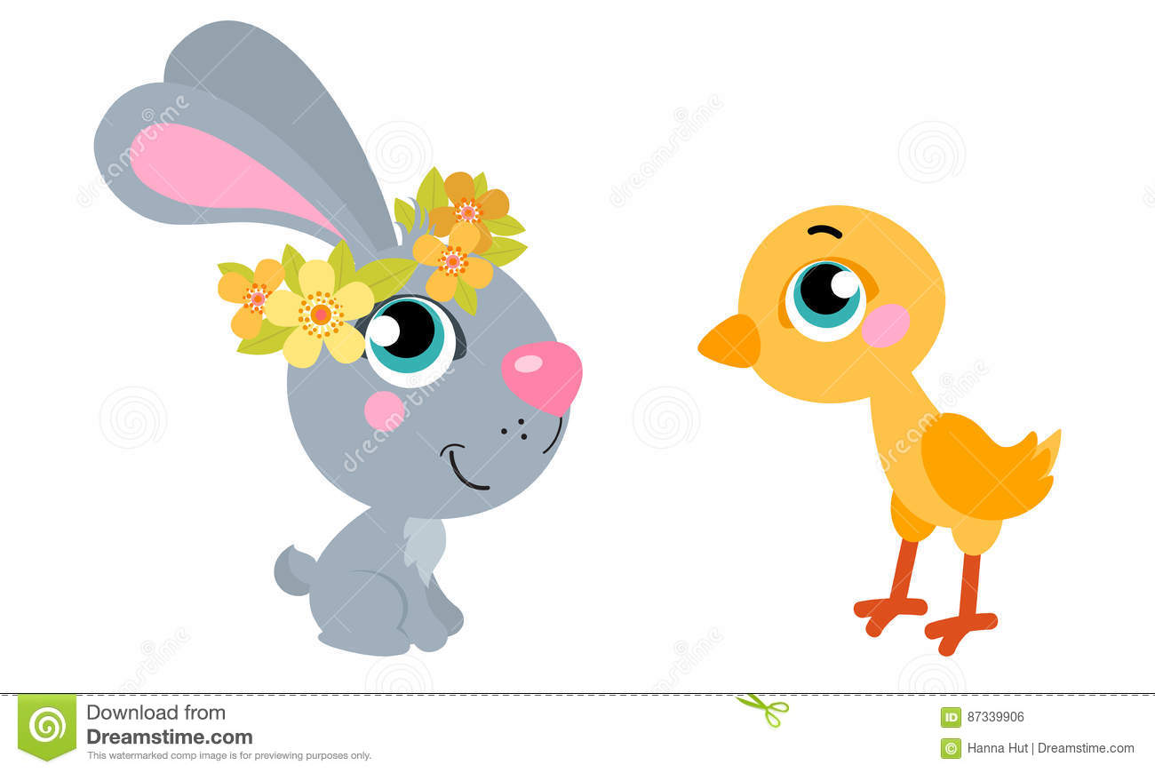 cute cartoons easter rabbit with chicken suitable for easter