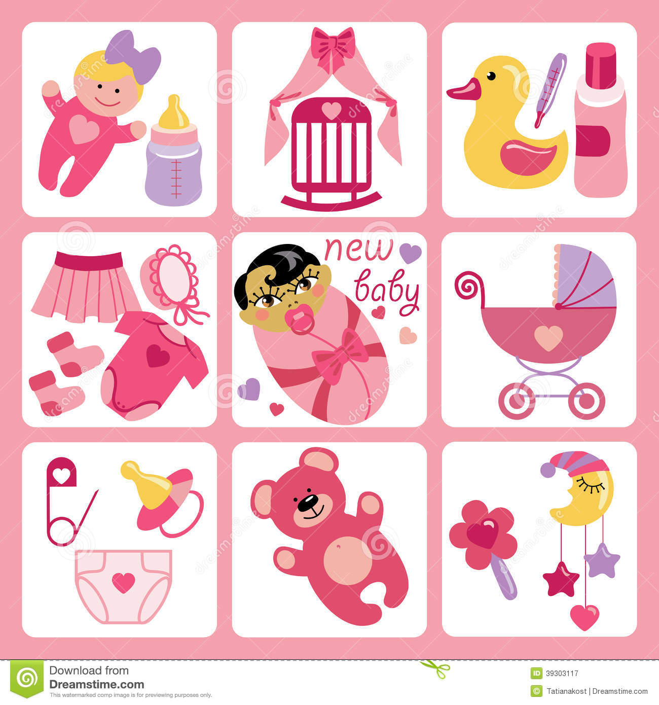 Cute Cartoons Icons For Asian Newborn Baby Girl Stock