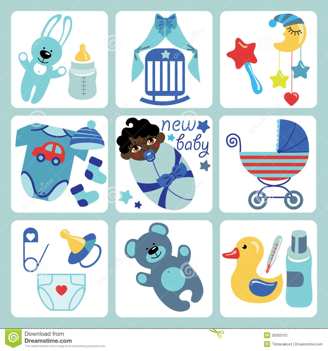 Cute Cartoons Icons For Mulatto Newborn Baby Girl Stock Vector
