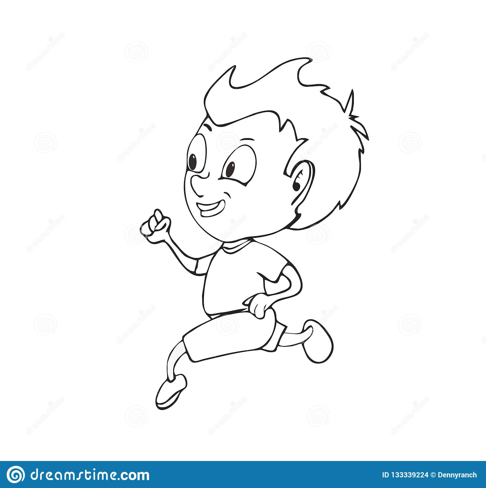 Cute Cartoony Boy Running stock illustration. Illustration ...