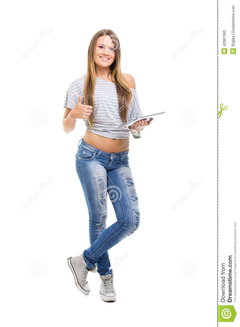 Cute casual teenage girl with digital tablet gesturing Cute teenage girls pics