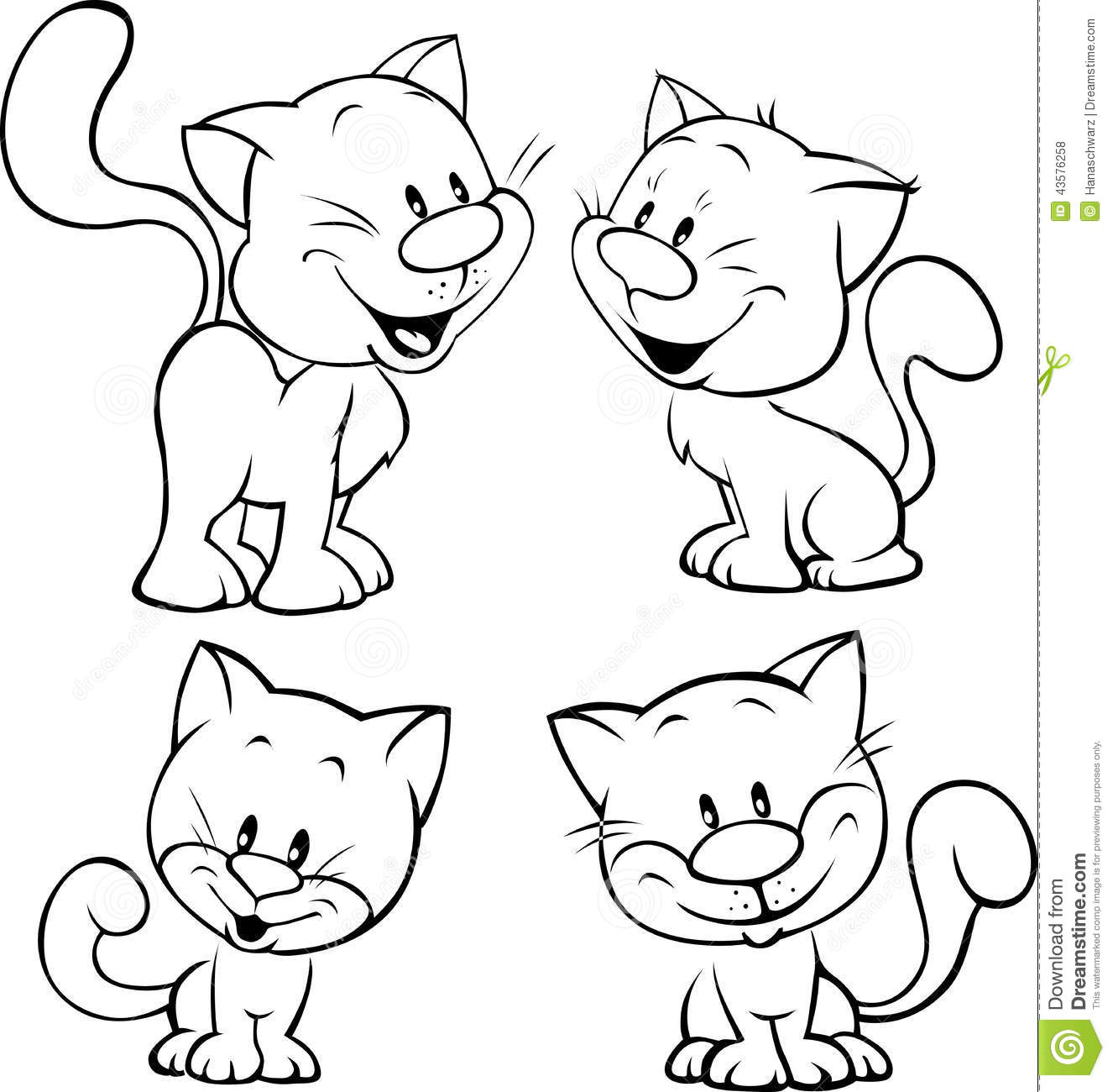 Cat Contour Line Drawing : Cute cat black outline illustration on white stock vector