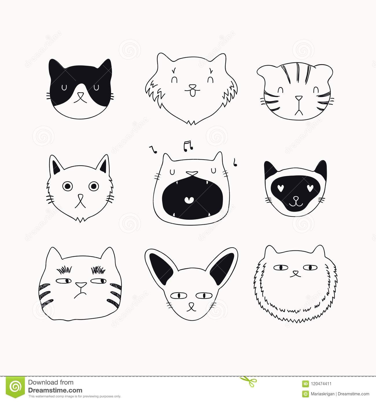 Cute Cat Black And White Doodles Set Stock Vector Illustration Of Different Background 120474411