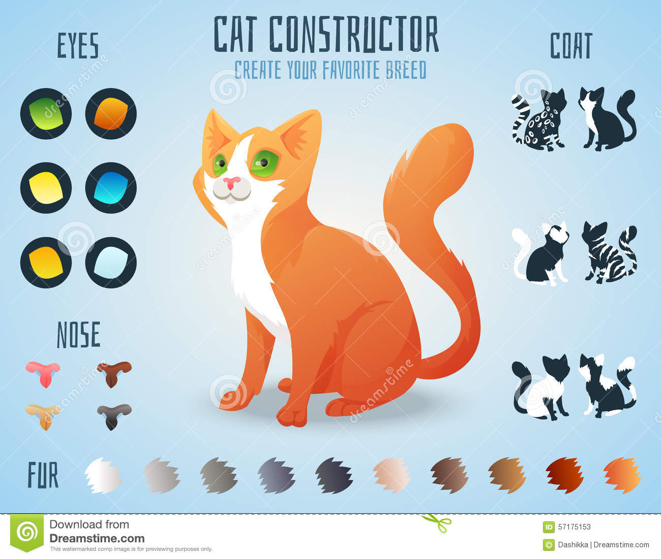 Cute Cat Breed Constructor. You Can Create Your Stock ...