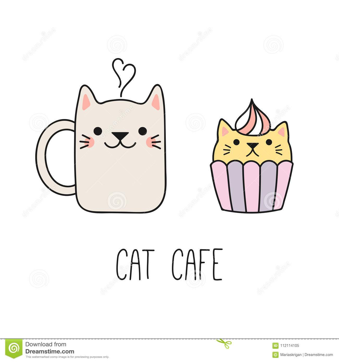 Cute Cat Cafe Illustration Stock Vector Illustration Of Cupcake 112114105
