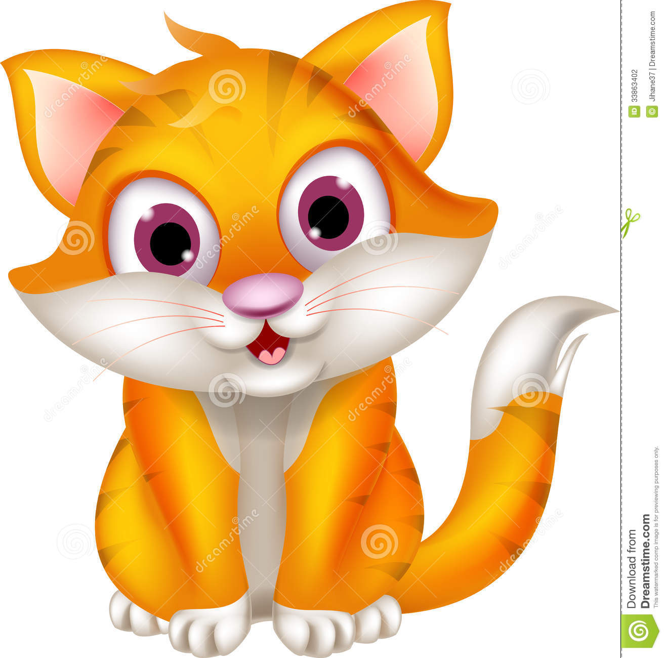 Cute Cat Cartoon Sitting Stock graphy Image