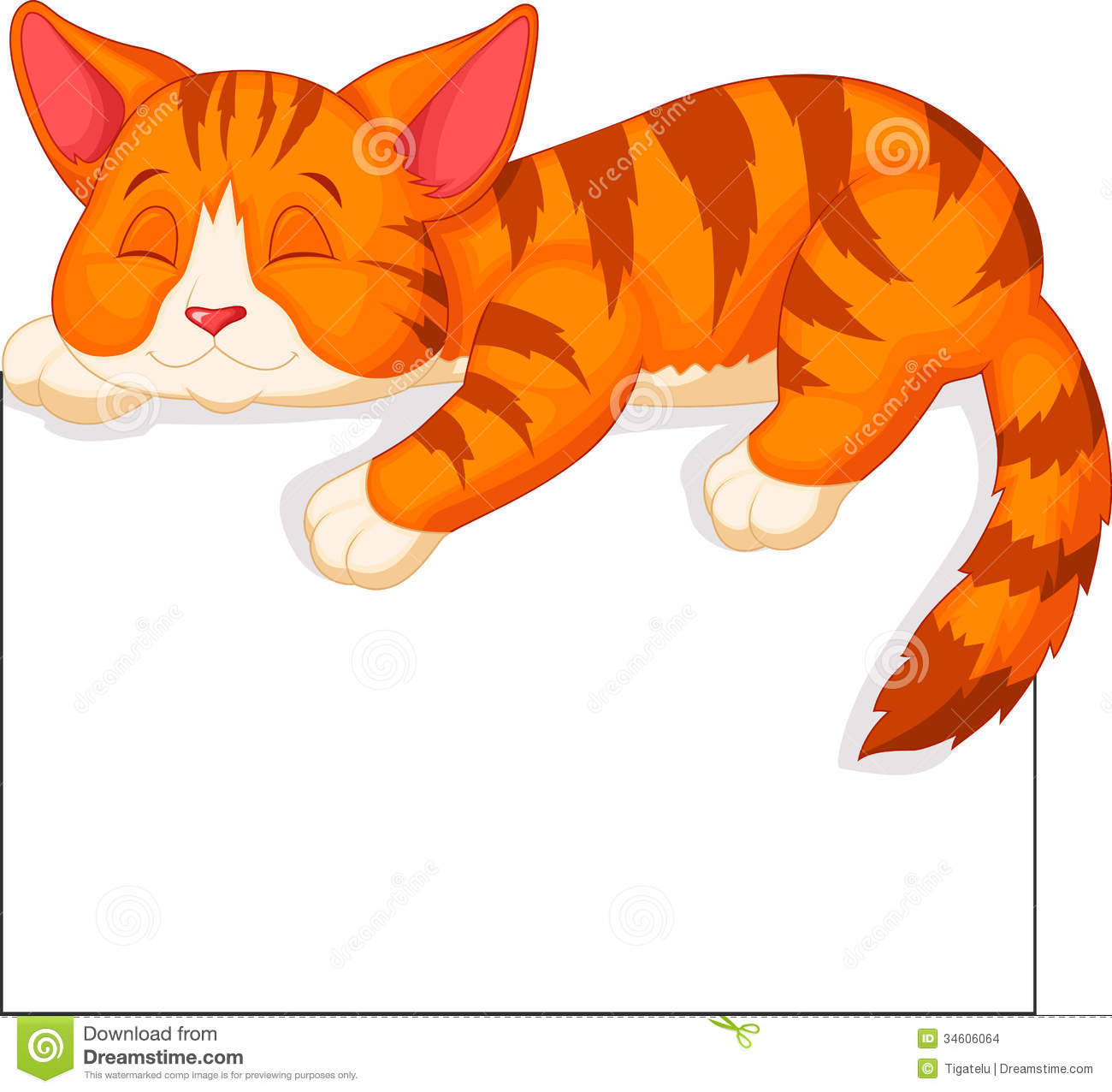 Cute Cat Cartoon Sleeping Stock Images - Image: 34606064