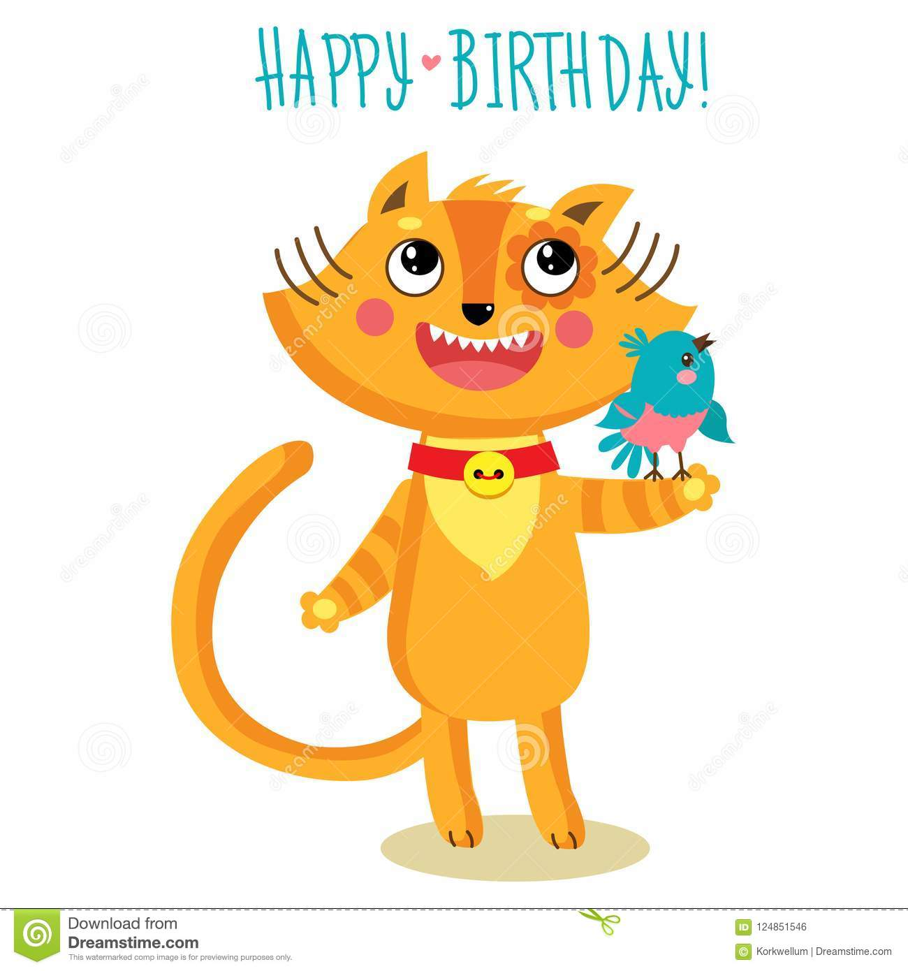 Cute Cat Character Greetings Card Funny Birthday Greeting