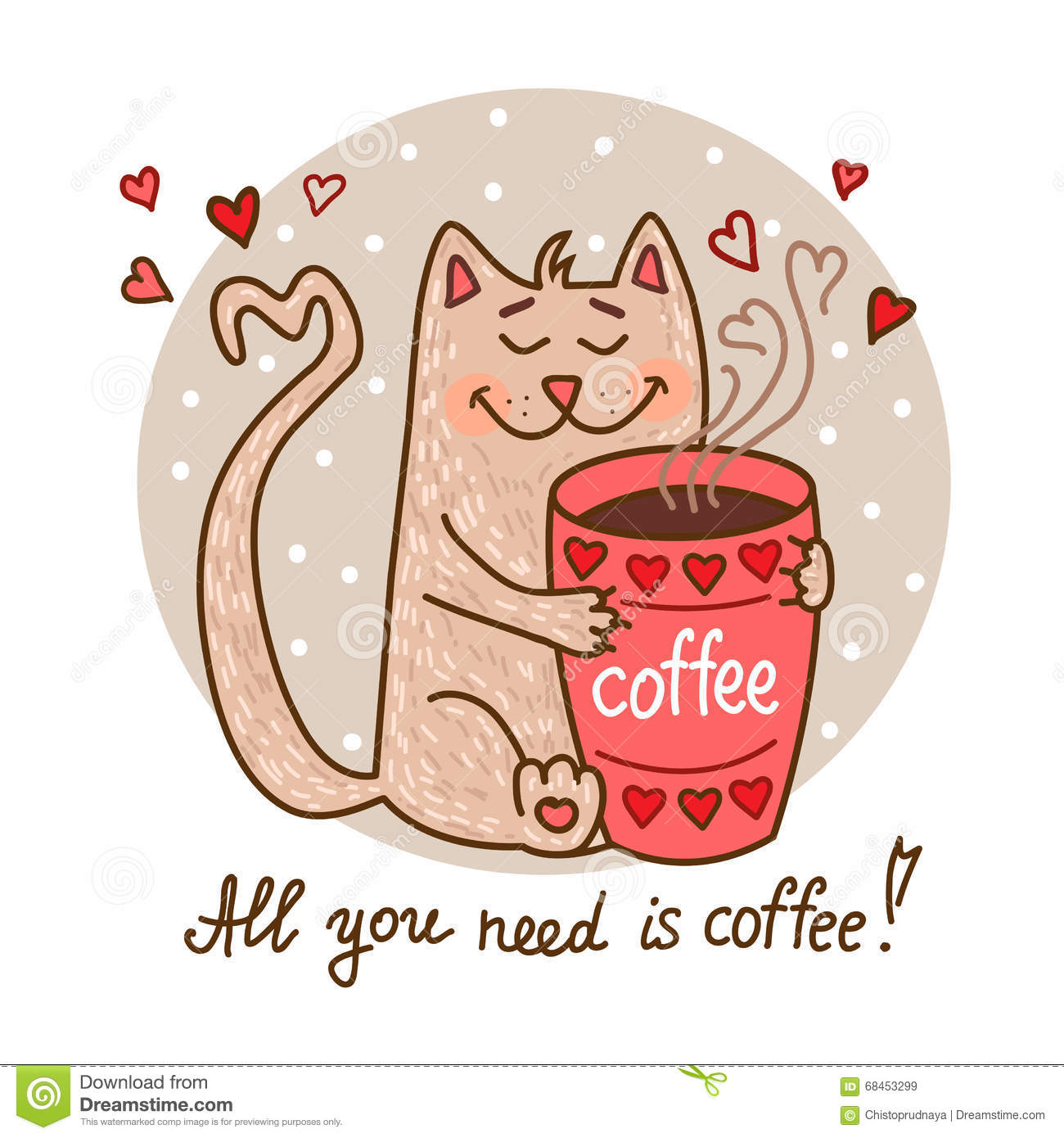 Cute cat with coffee stock vector. Illustration of kitty ...