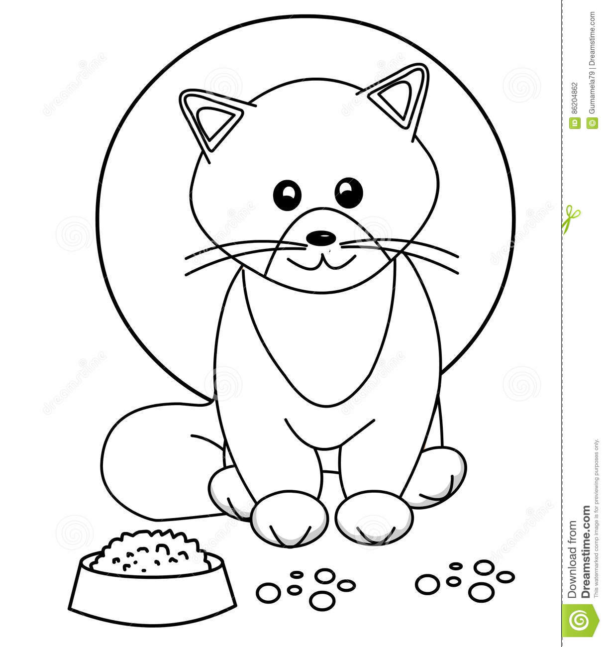 Cute Cat Coloring Page Stock Illustration Illustration Of