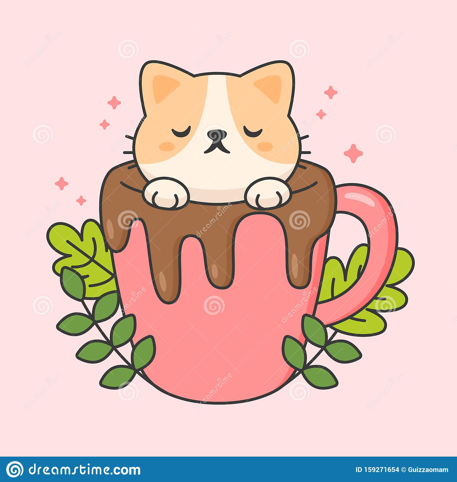 Vector Character Of Cute Cat In A Cup Of Chocolate Stock Illustration Illustration Of Draw Kitty 159271654