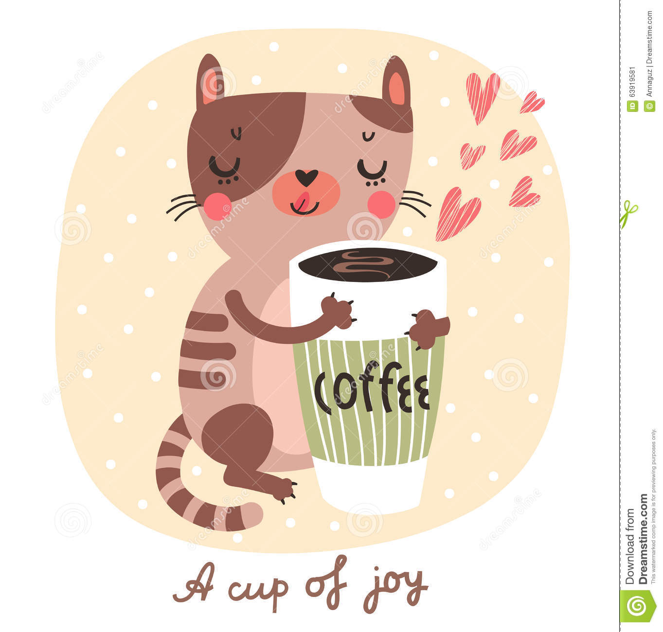 Cute Cat With A Cup Of Coffee Stock Vector Image 63919581