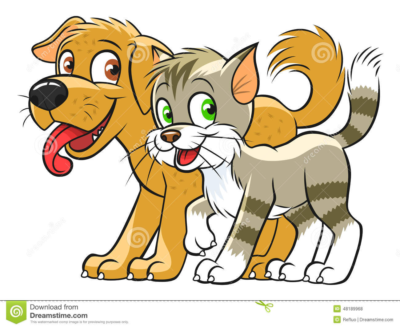 Cute cat and dog stock vector. Illustration of character