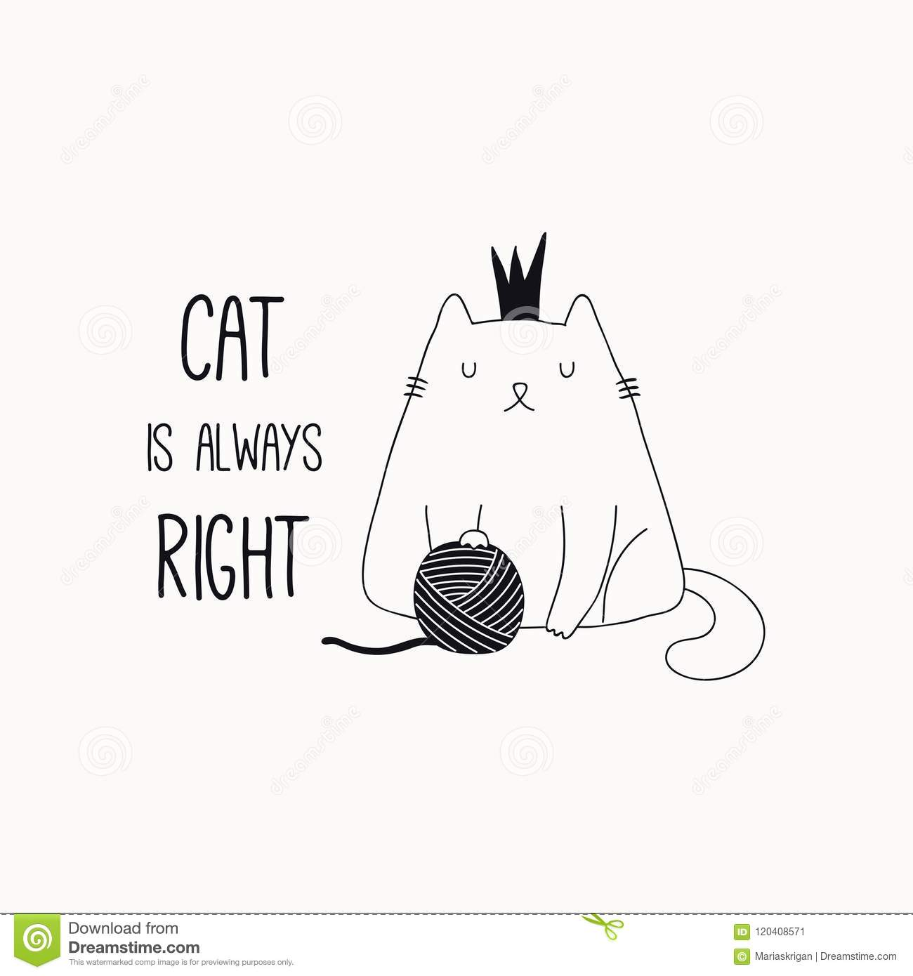 Cute Cat Doodle With Quote Stock Vector Illustration Of Black