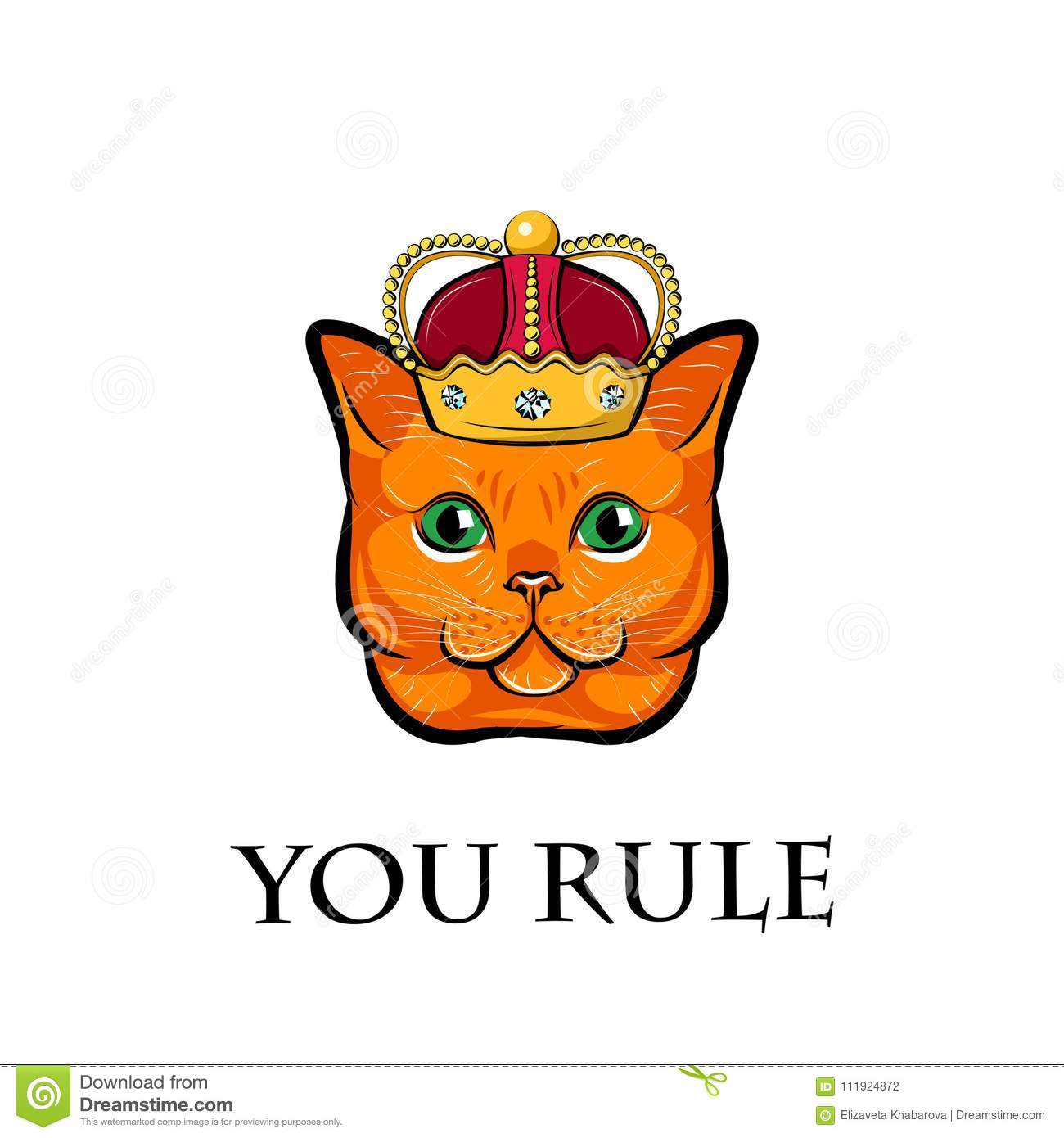 cute cat face with crown cat king vector illustration stock