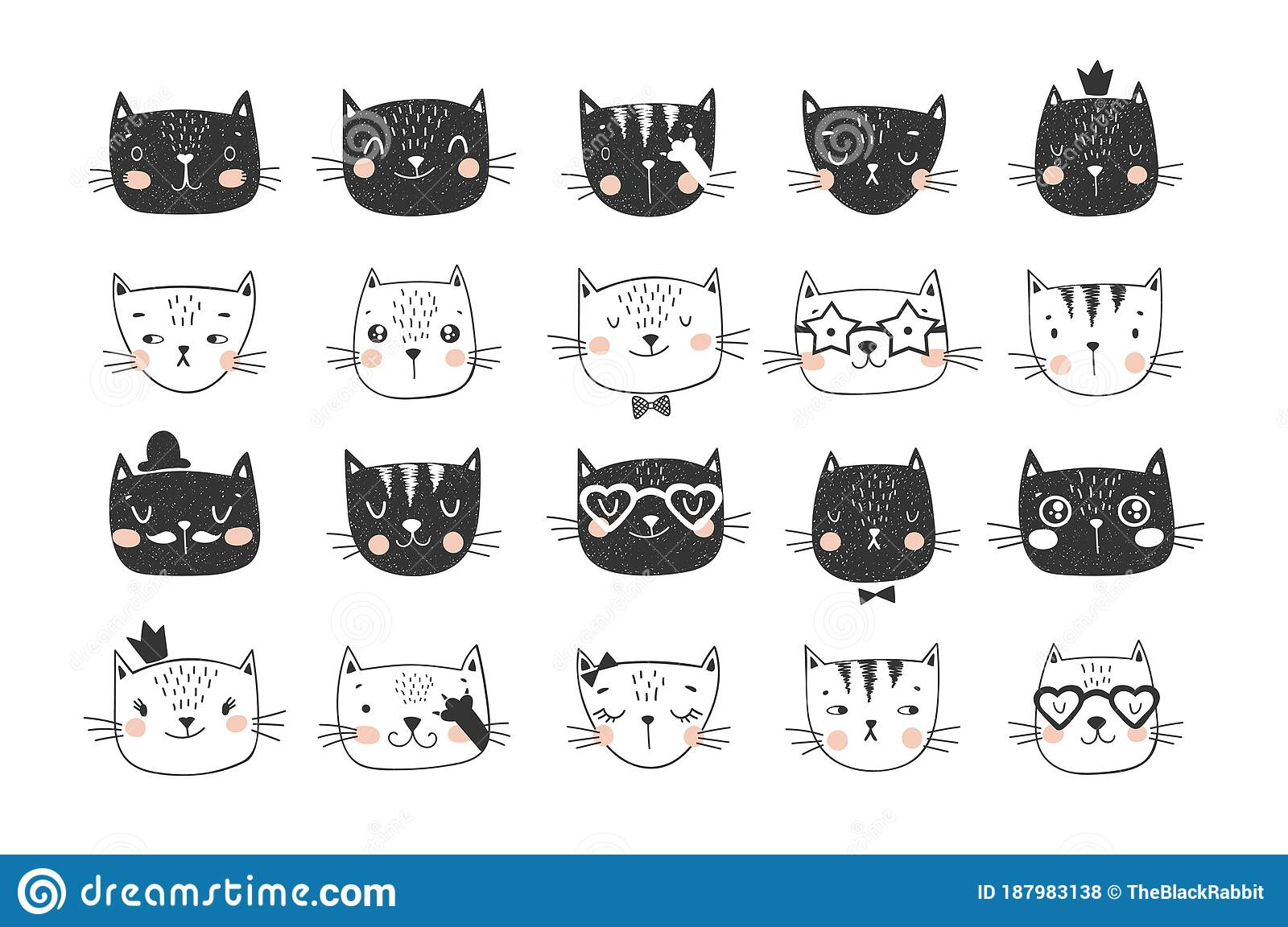 Cute Cat Faces Doodle Collection For Stickers Tricolor Stock Illustration Illustration Of Cartoon Collection 187983138