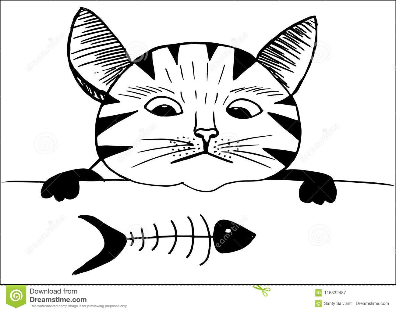 Cute Cat And Fish Cartoon Style Hand Drawing Stock Illustration
