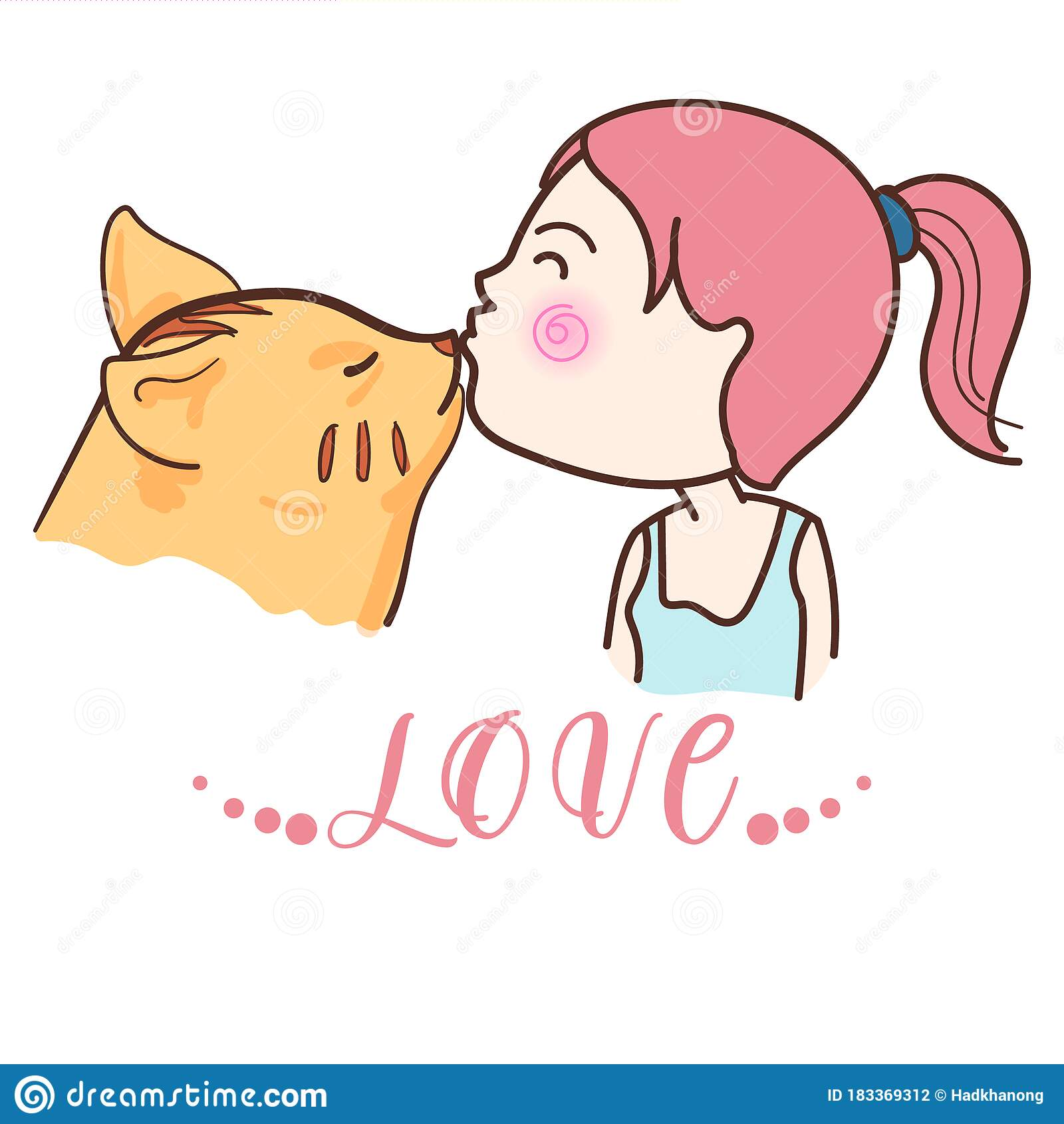 Cute Cat Kiss Young Girl Lovely Bonding And Relationship Between Animal And Human Stock Vector Illustration Of Care Bonding 183369312