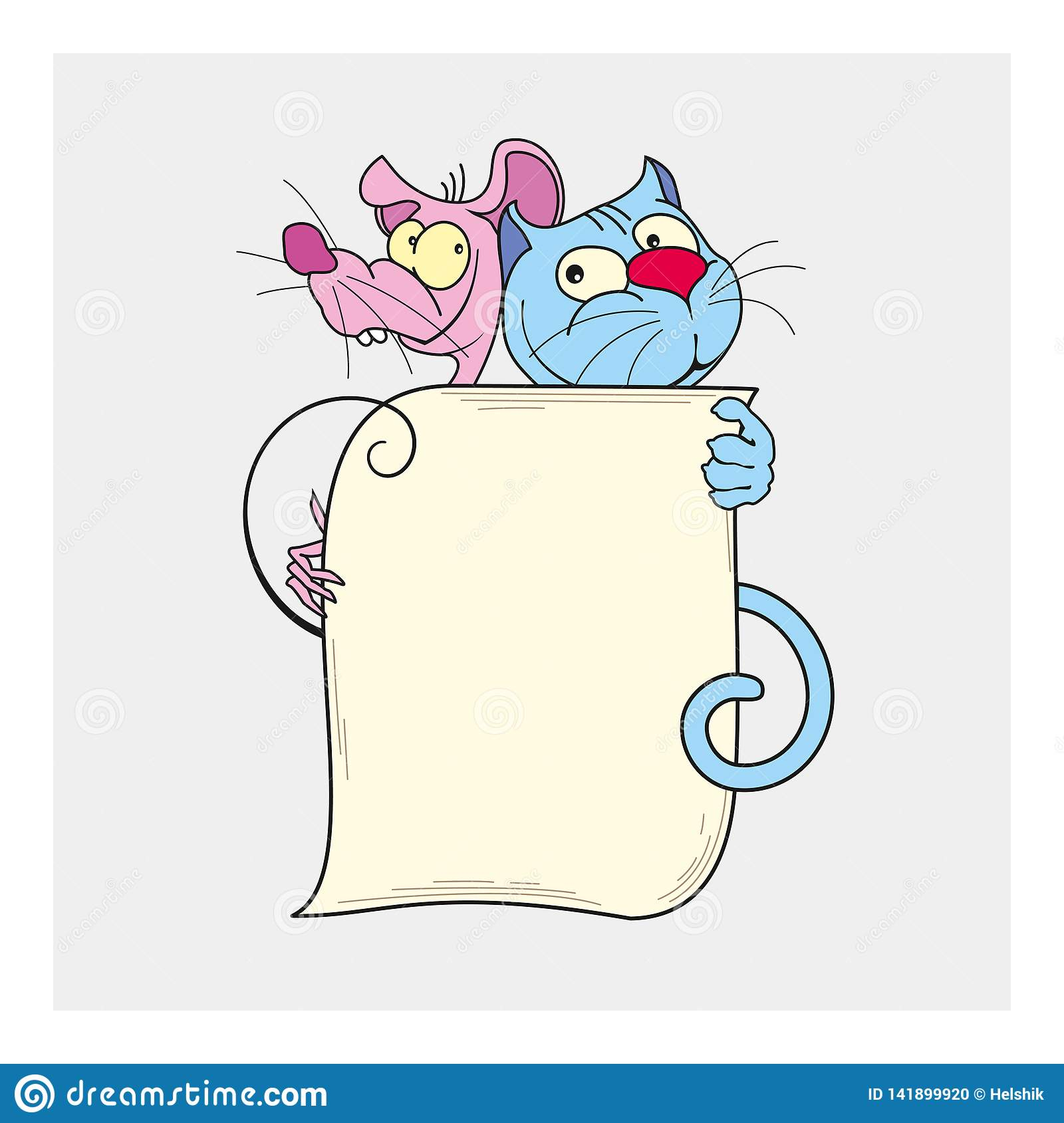 Cute cat and mouse best friends vector illustration