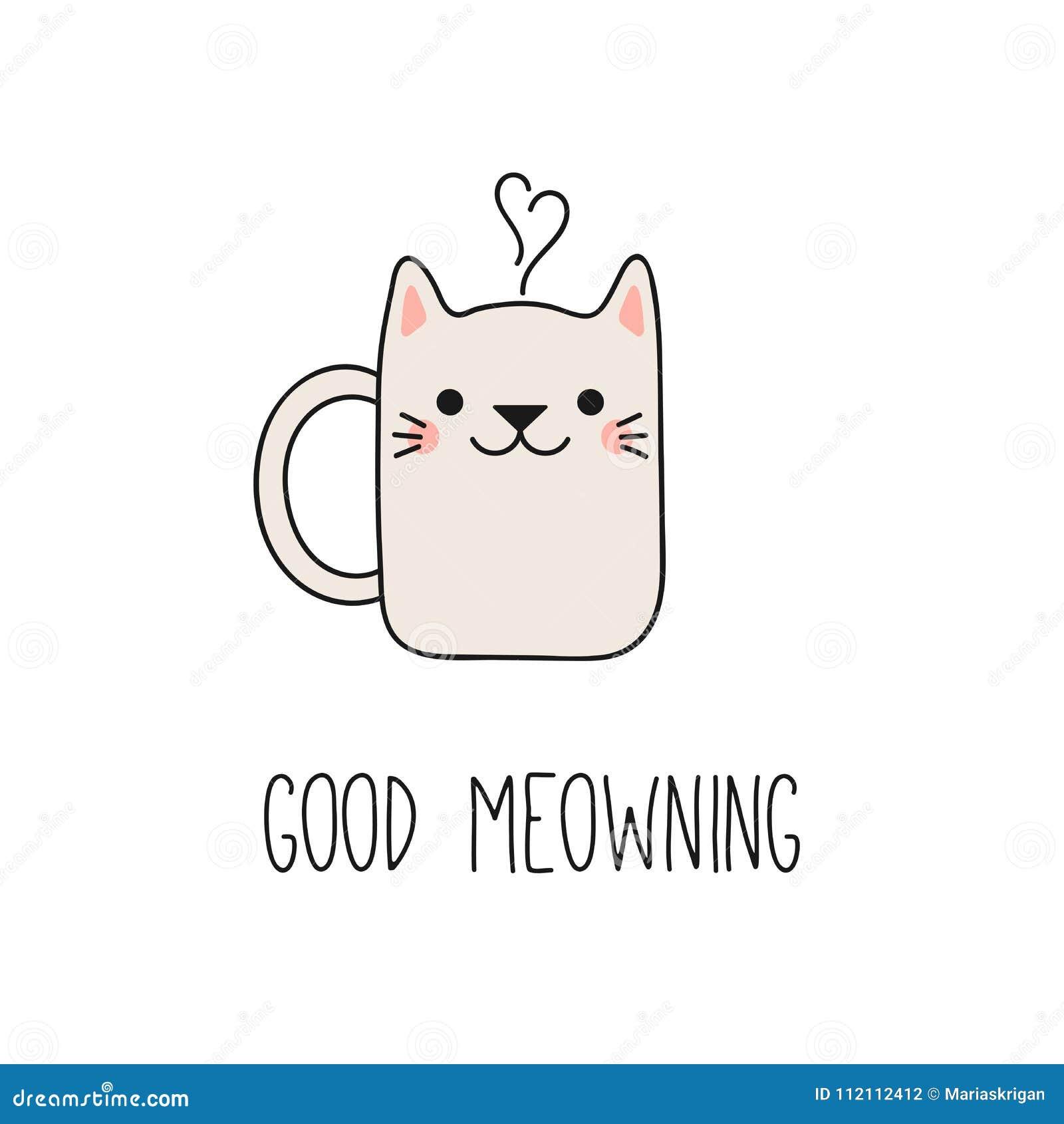 Cute Cat Mug Cup Stock Vector Illustration Of Face 112112412