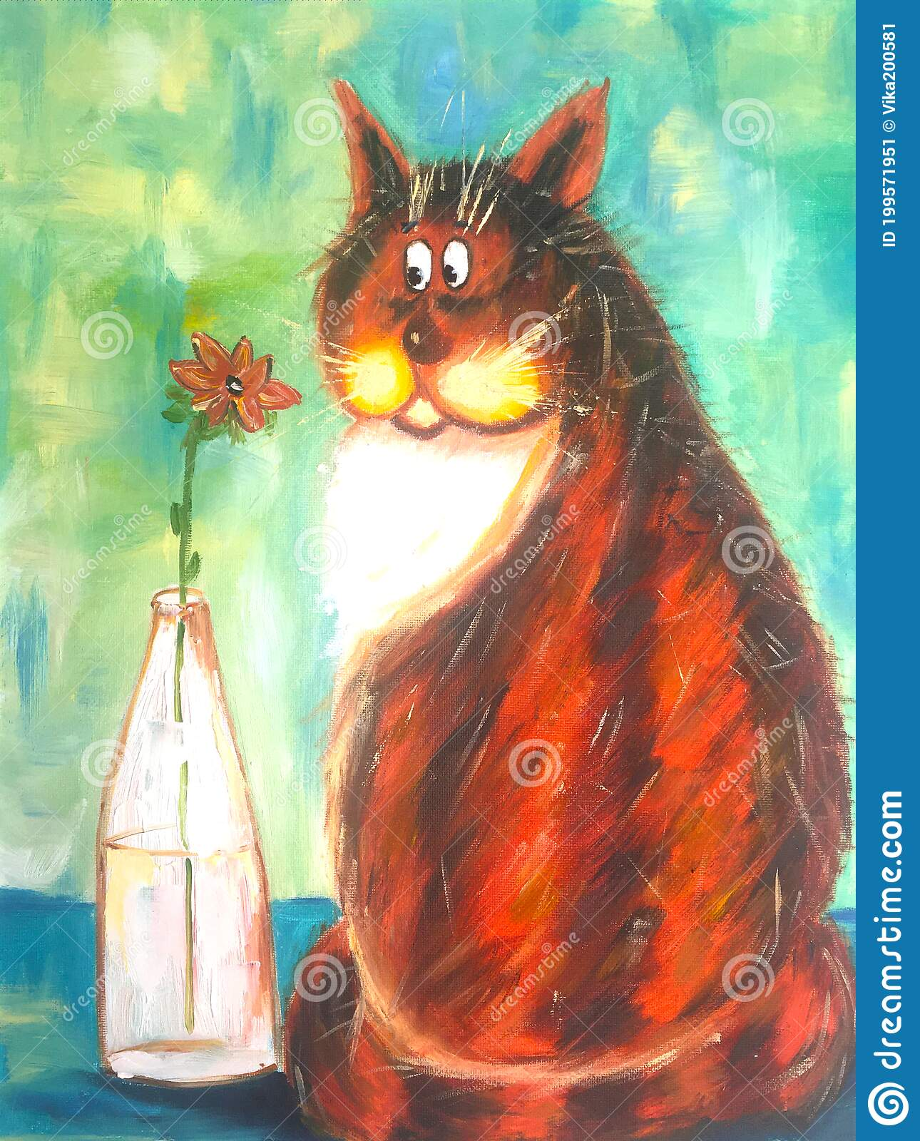 Portrait of a red cat with flowers dandelions cute kitten wall decor Cat fine art oil painting on canvas bright wall decor in the nursery
