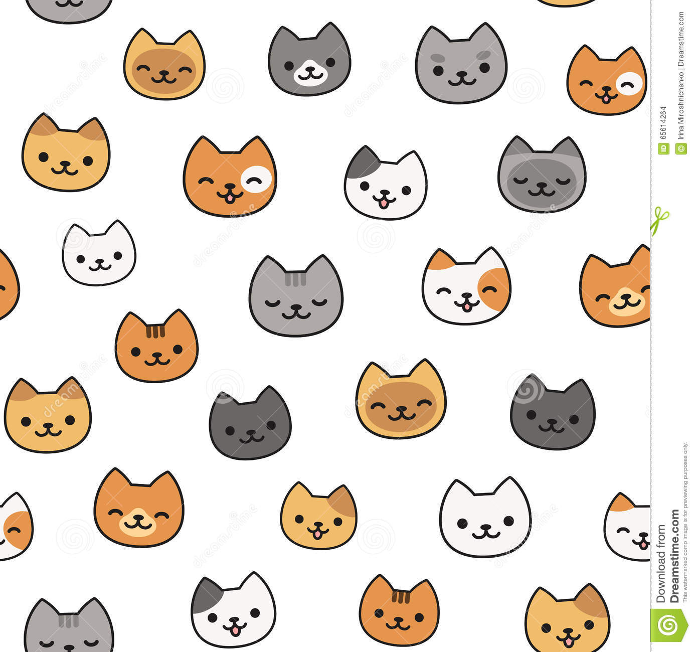 Cute Cat Pattern Stock Vector Illustration Of Repeating 65614264