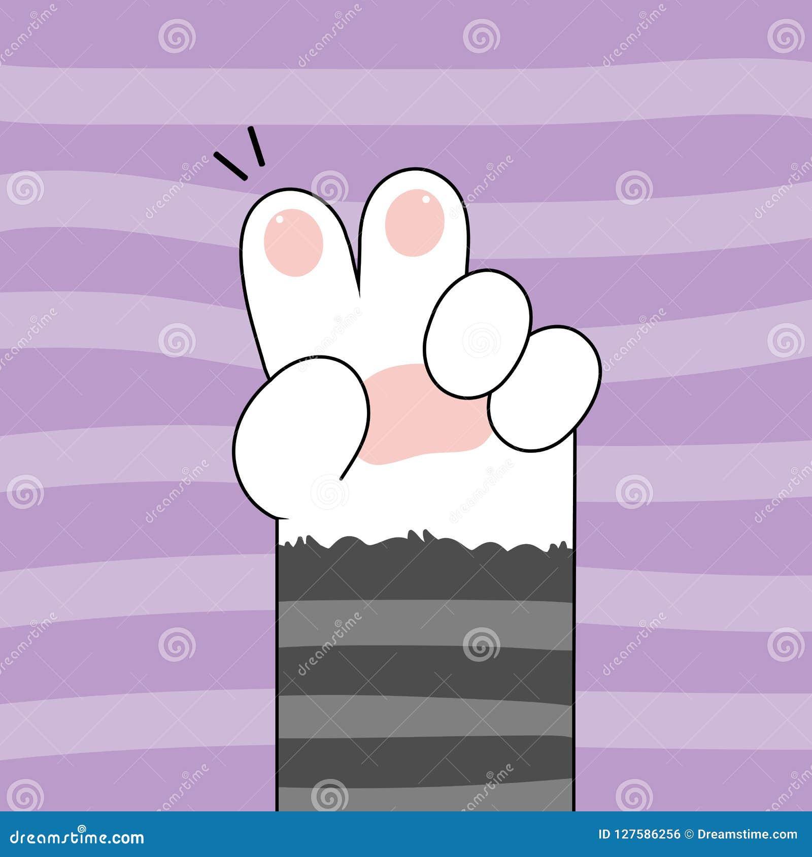 Cute Cat Paws Wallpaper Vector Illustration Stock Vector