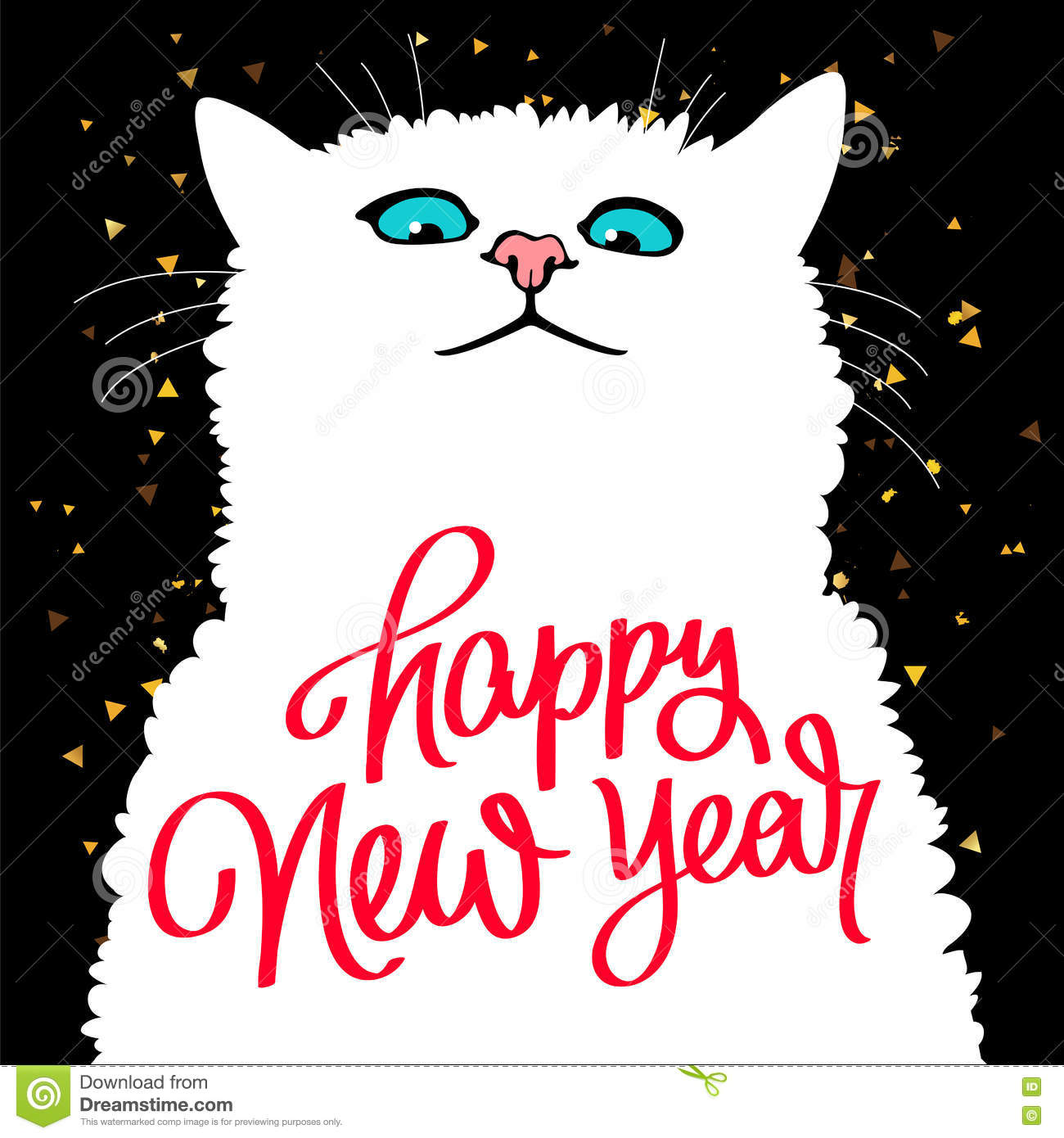 Cute Cat. Quote Happy New Year Stock Vector - Illustration of black ...