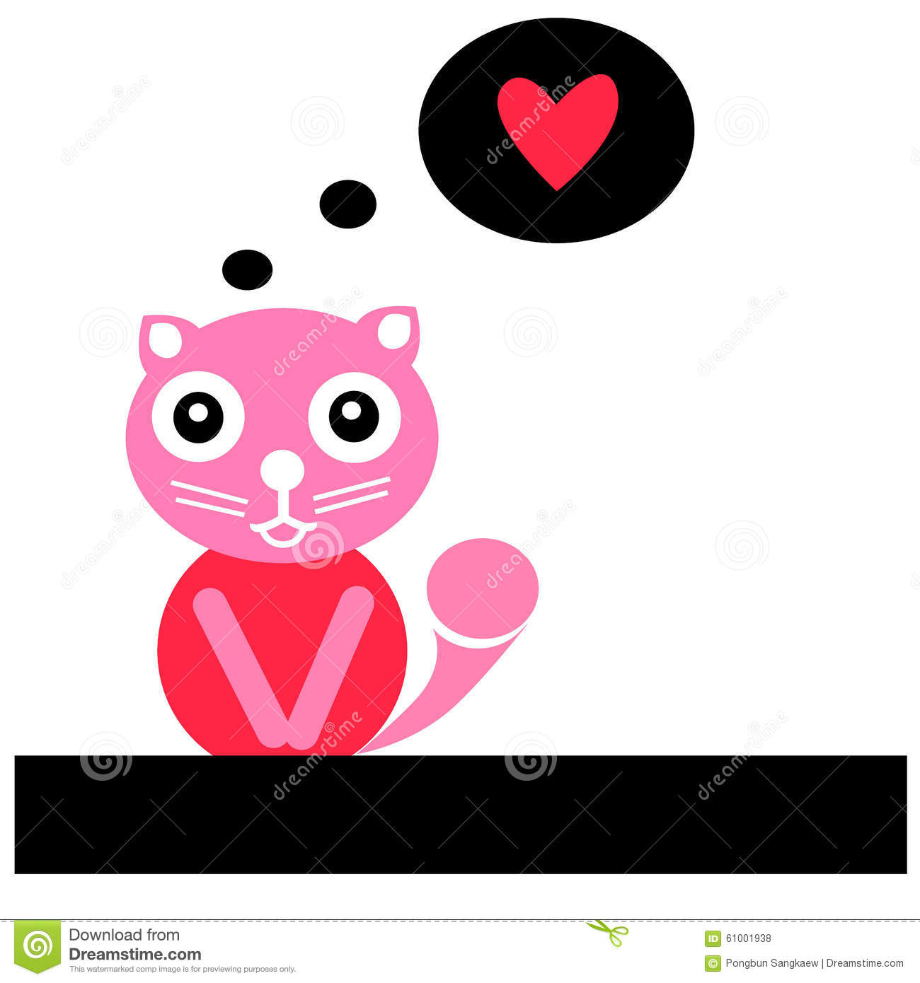 Cute Cat With Red Heart Eps.10 Stock Vector - Image: 61001938