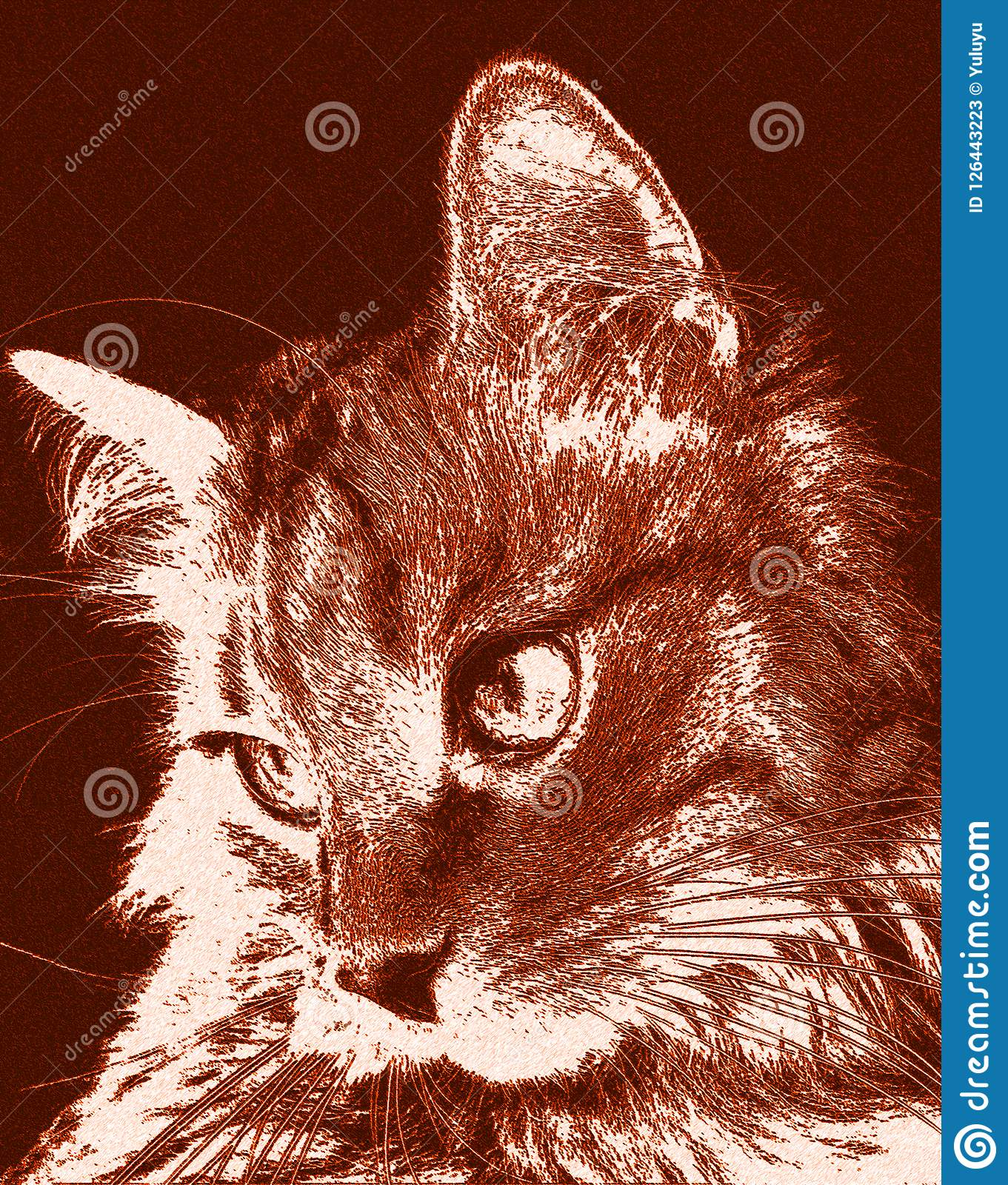Cute Cat Relaxed Looking To The Side Portrait Of A Cat S Face In Profile Stock Illustration Illustration Of Looking Decorative 126443223