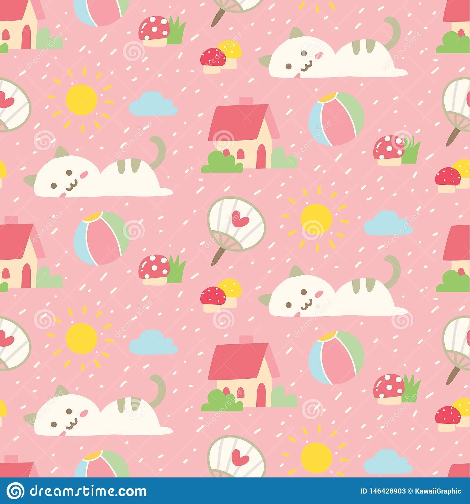 Cute cat seamless background in kawaii style vector