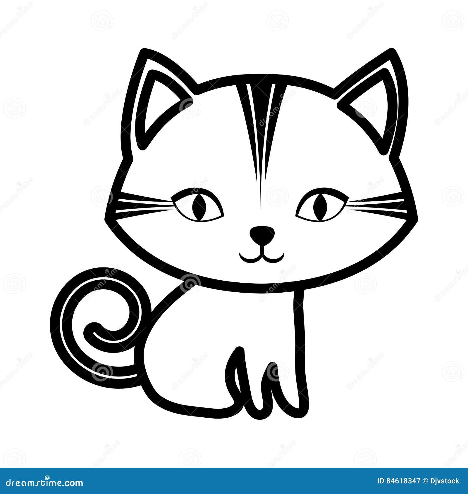Cute Cat Stripes Sitting Outline Stock Illustration ...