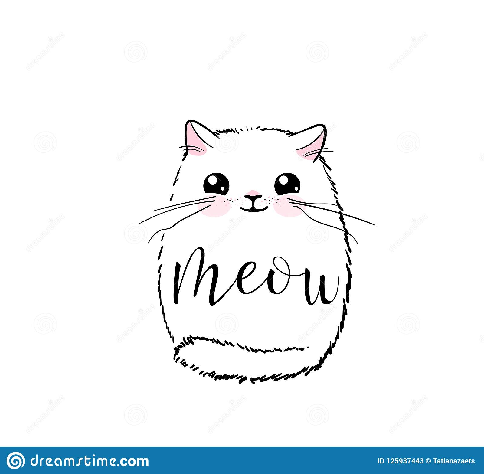 Cute Cat Vector Print Design Meow Lettering Text Kitten Face